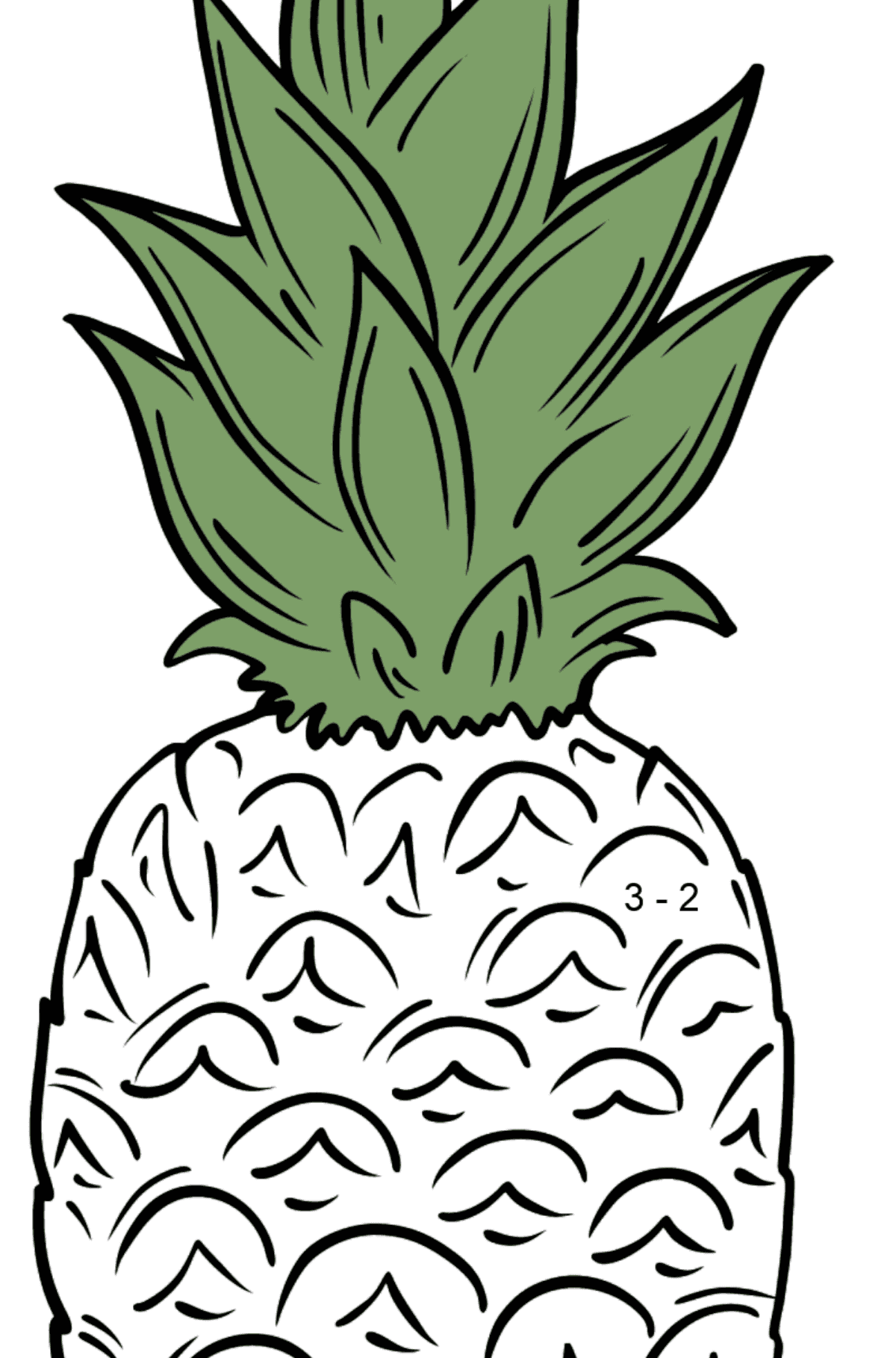 Pineapple coloring page - Math Coloring - Subtraction for Kids