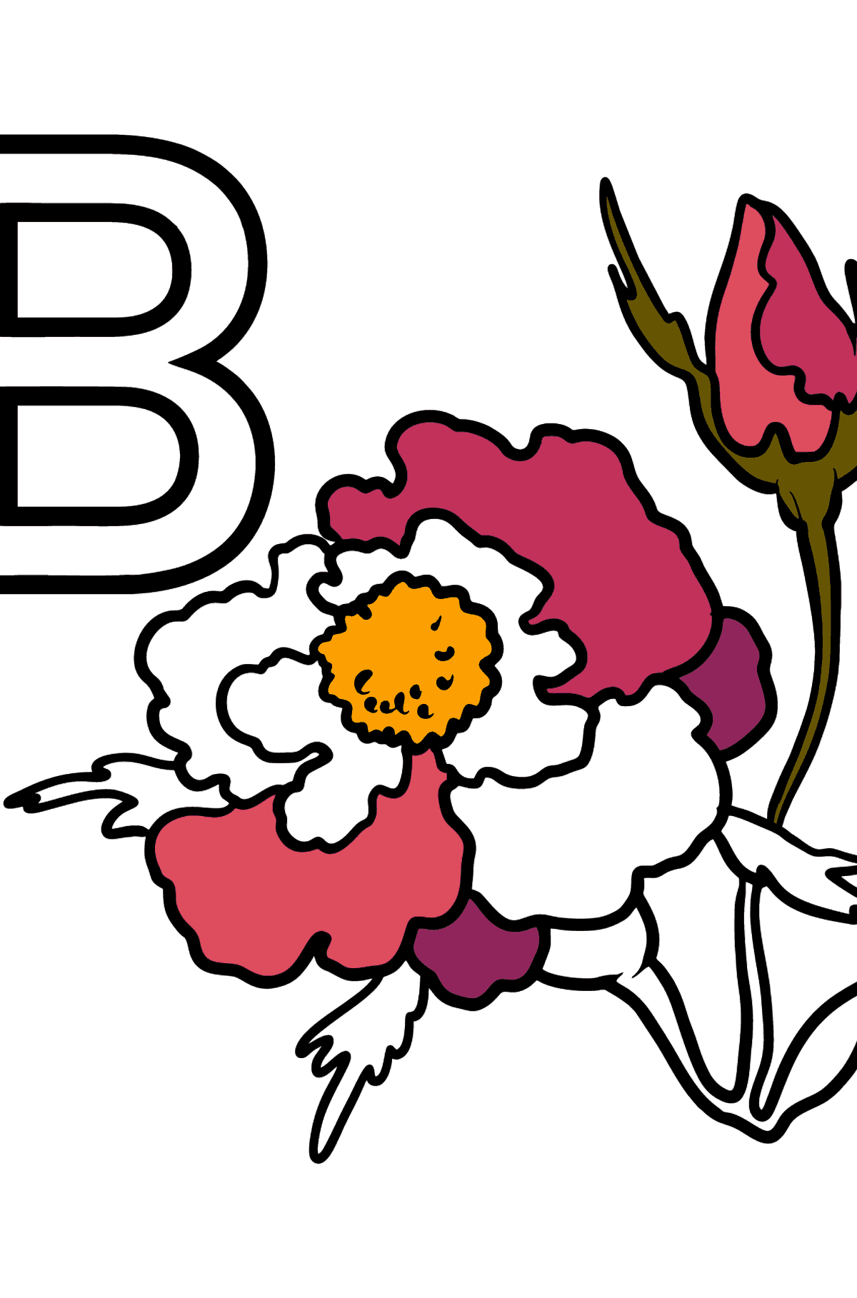 German Letter B coloring pages - BLUME