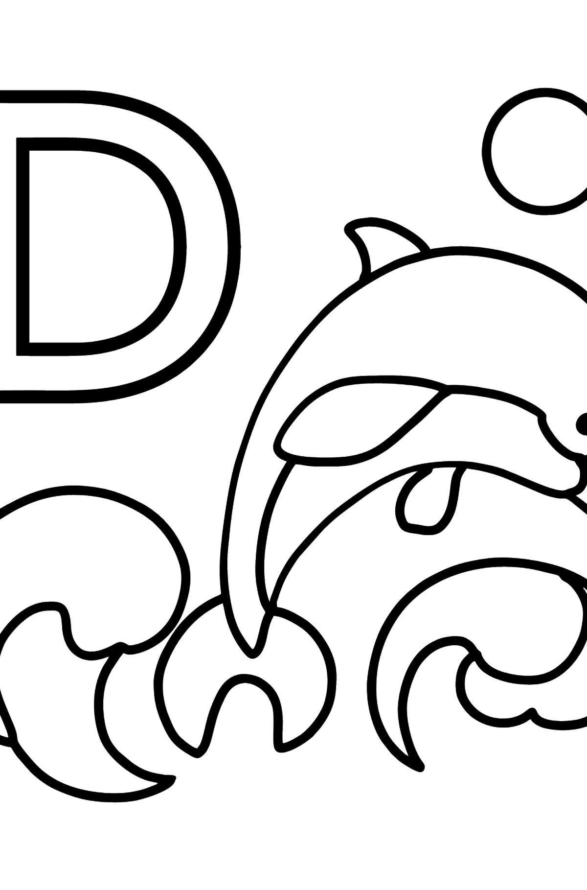 German Letter D coloring pages - DELFIN - Coloring Pages for Kids