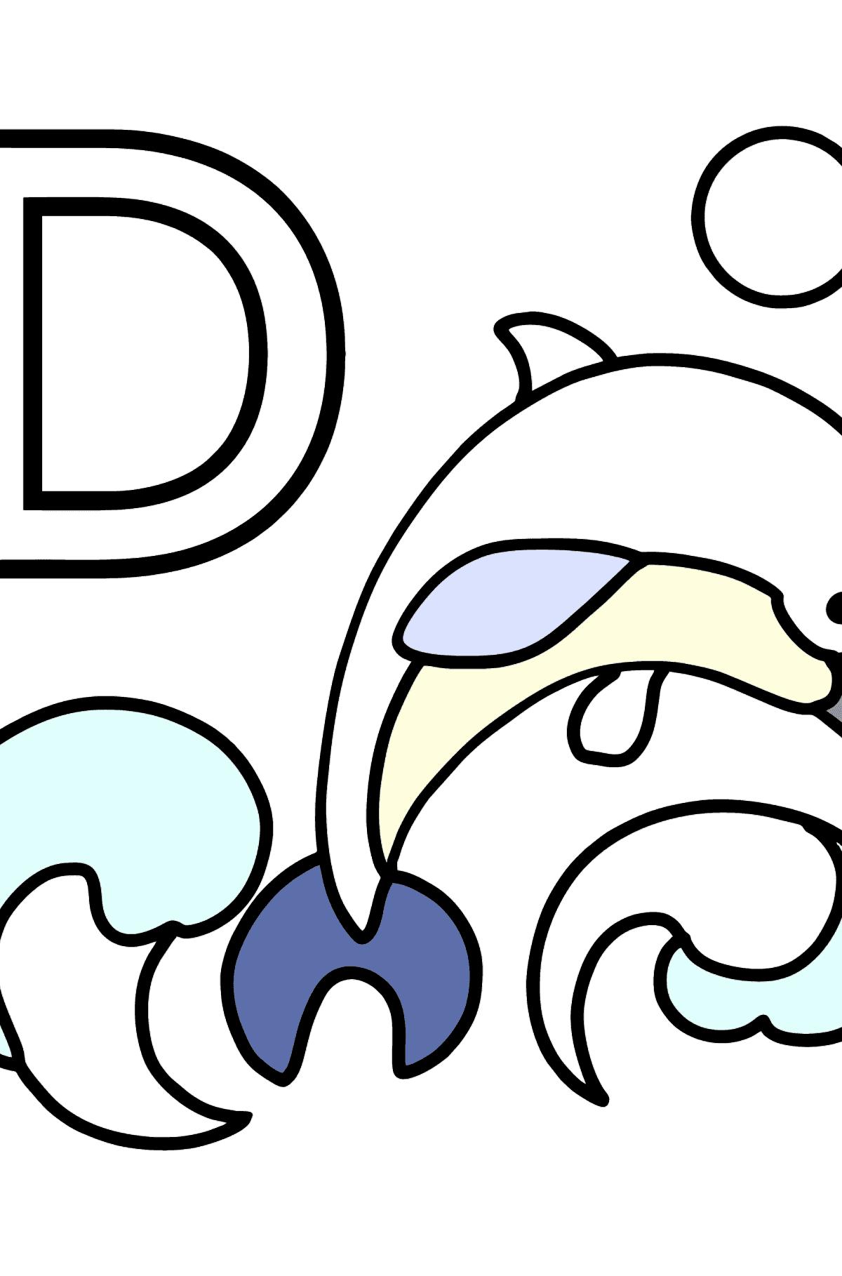 Coloriage - Lettre allemande D - DELFIN - Coloriages pour les Enfants