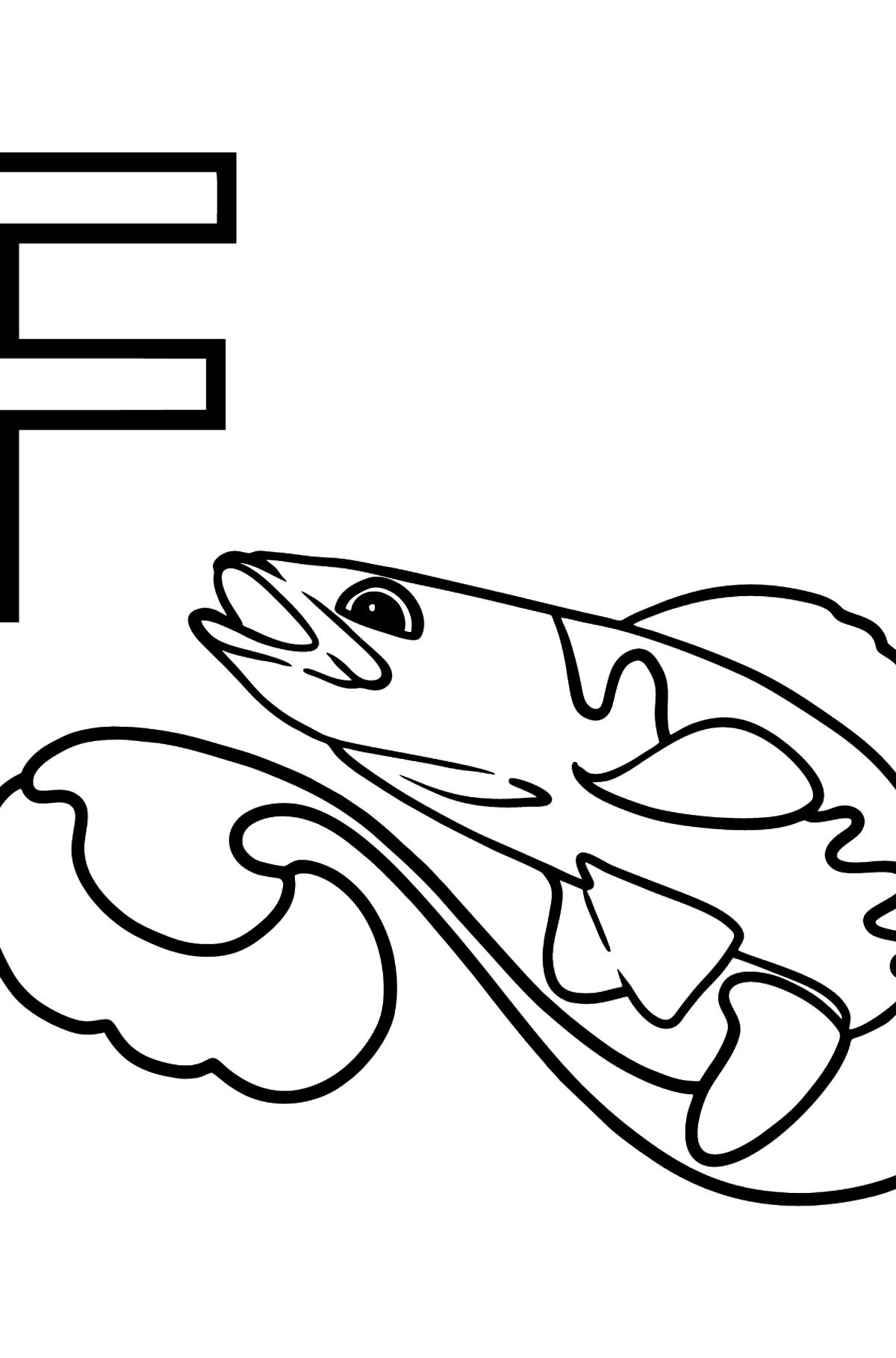 Раскраска буквы F немецкого алфавита - FISCH - Картинки для Детей
