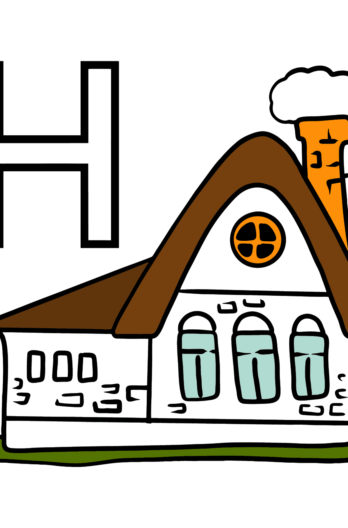 German Letter H coloring pages - HAUS - Coloring Pages for Kids
