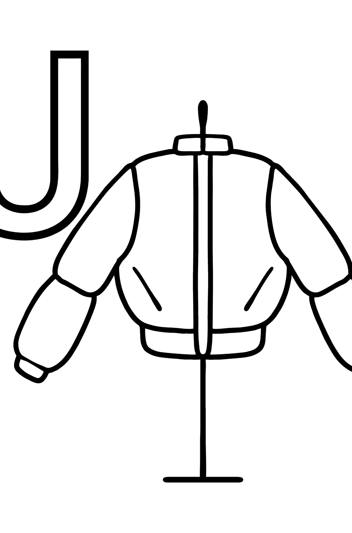German Letter J coloring pages - JACKE - Coloring Pages for Kids