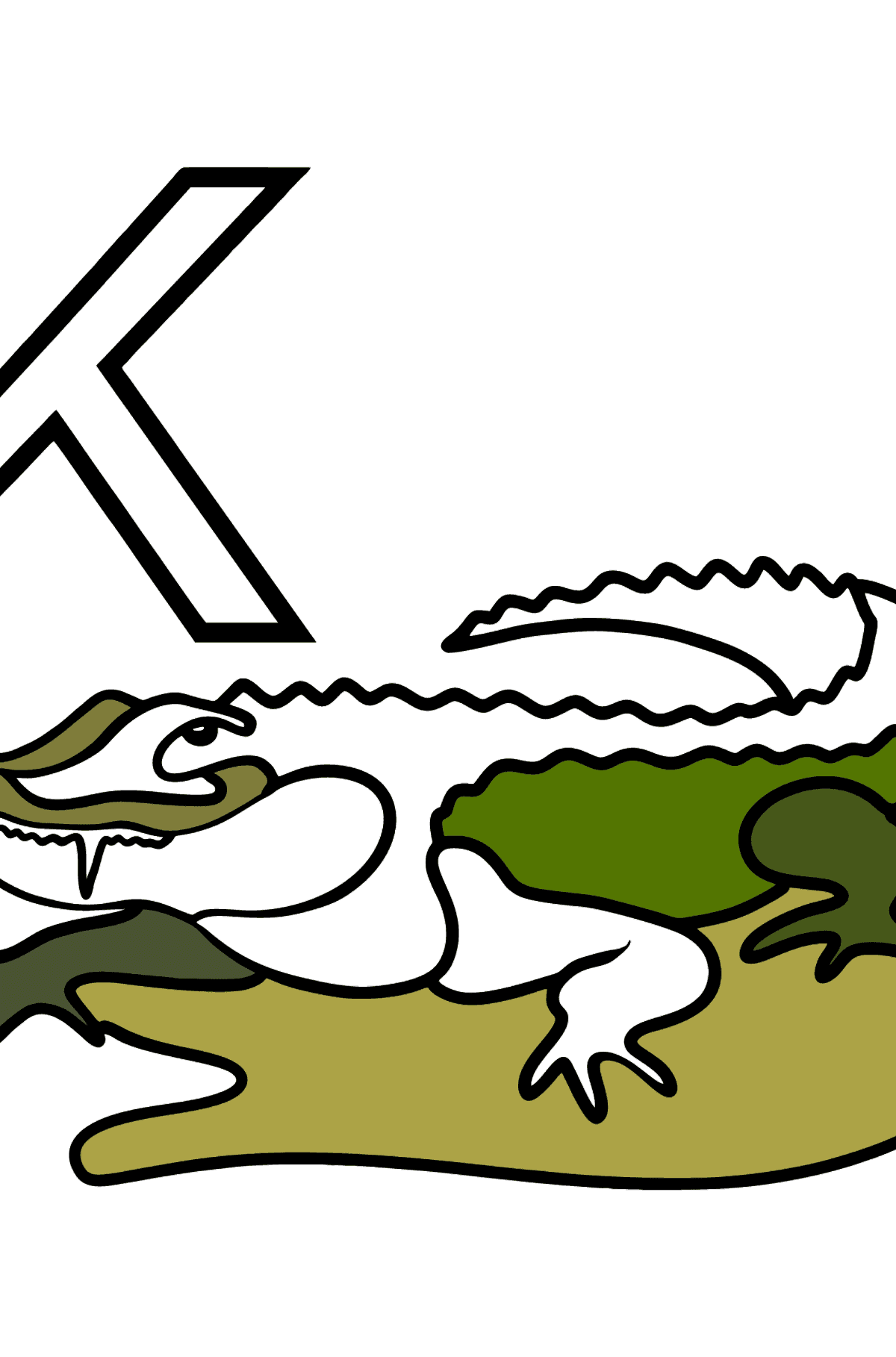 German Letter K coloring pages - KROKODIL - Coloring Pages for Kids