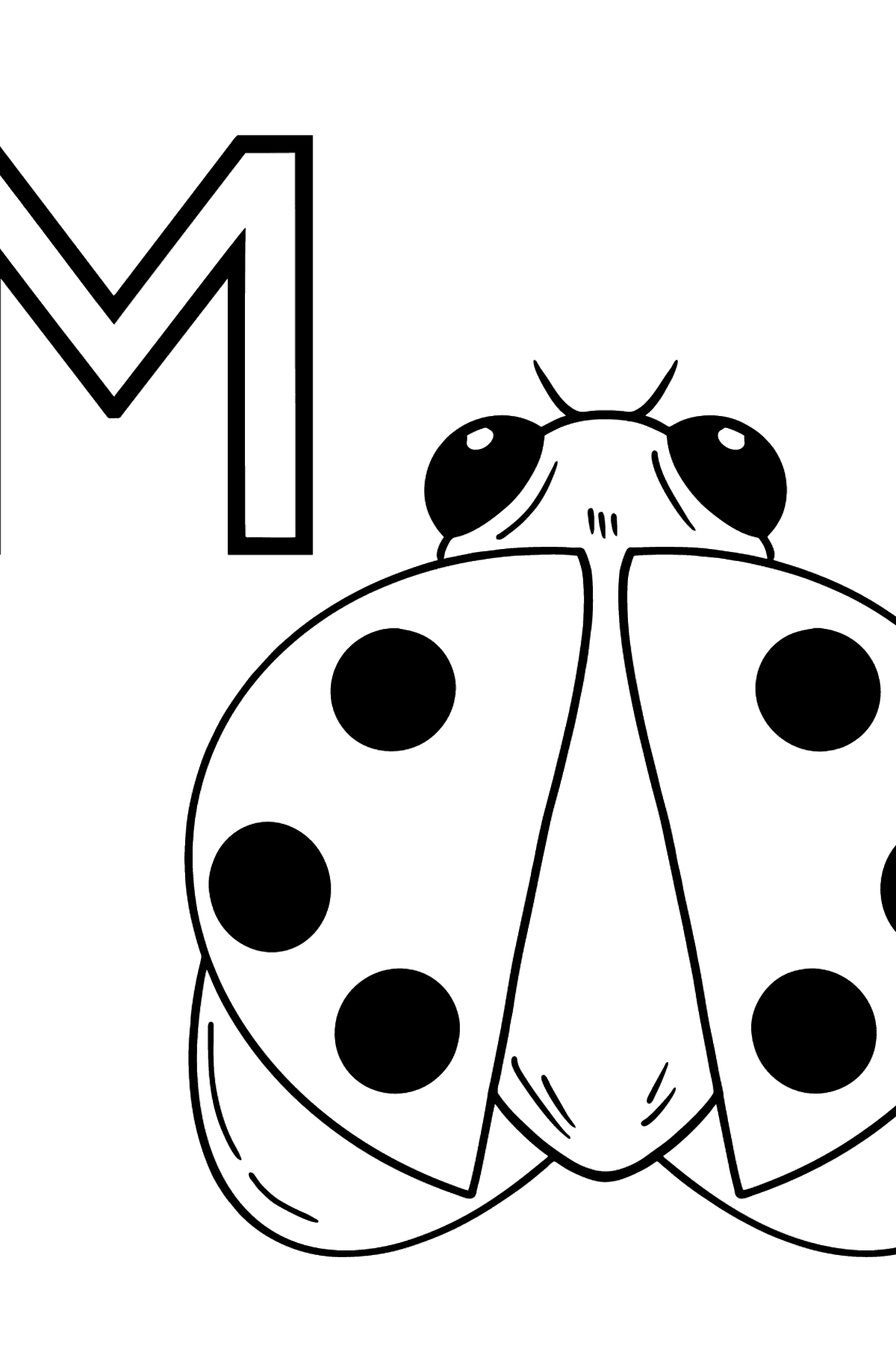 German Letter M coloring pages - MARIENKÄFER - Coloring Pages for Kids