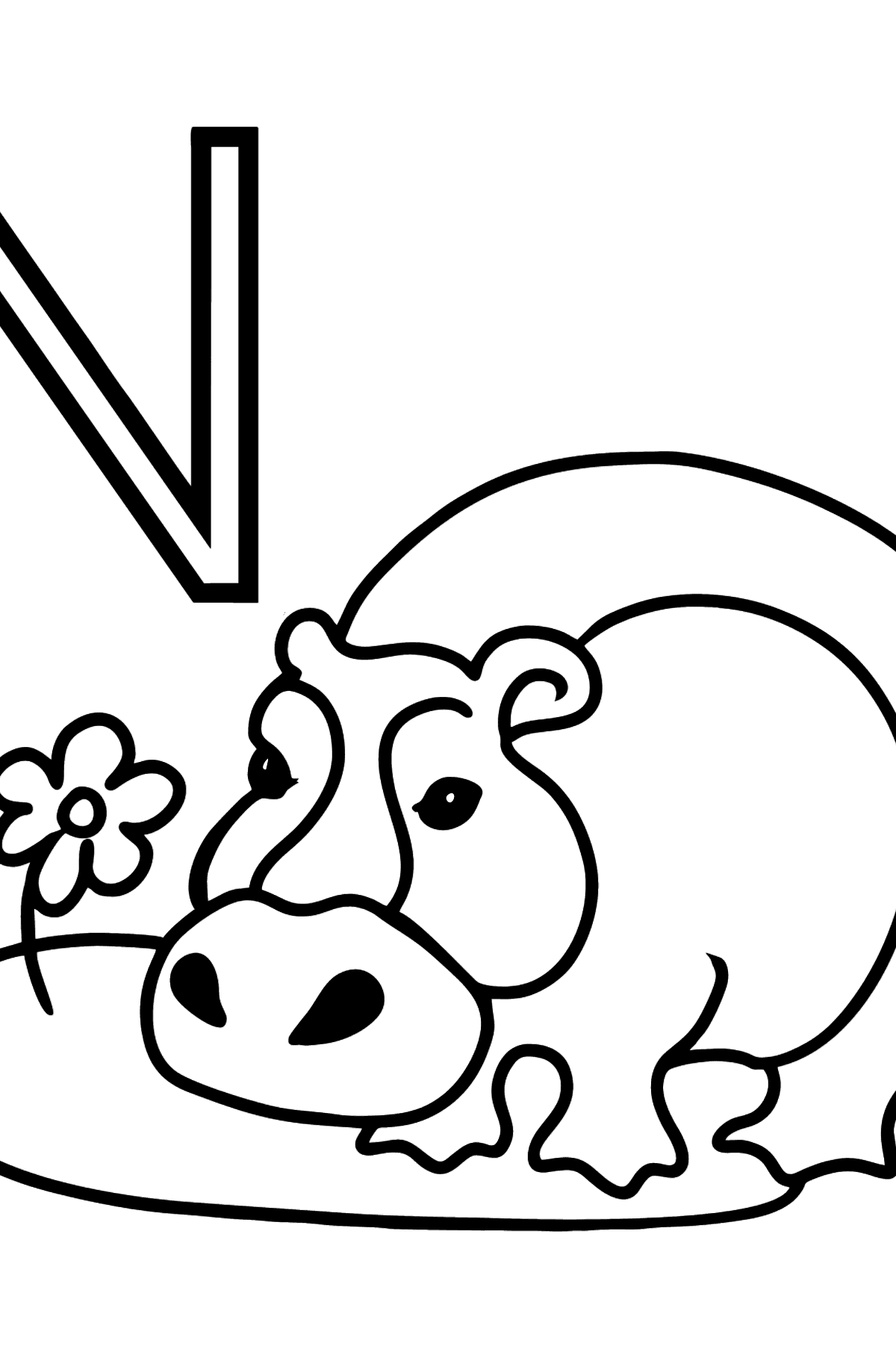 German Letter N coloring pages - NILPFERD - Coloring Pages for Kids