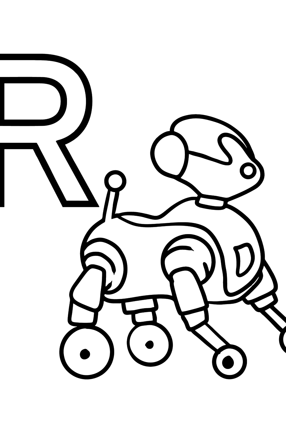 German Letter R coloring pages - ROBOTER - Coloring Pages for Kids