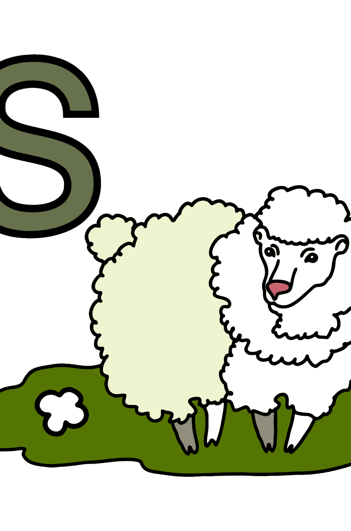 German Letter S coloring pages - SCHAF - Coloring Pages for Kids
