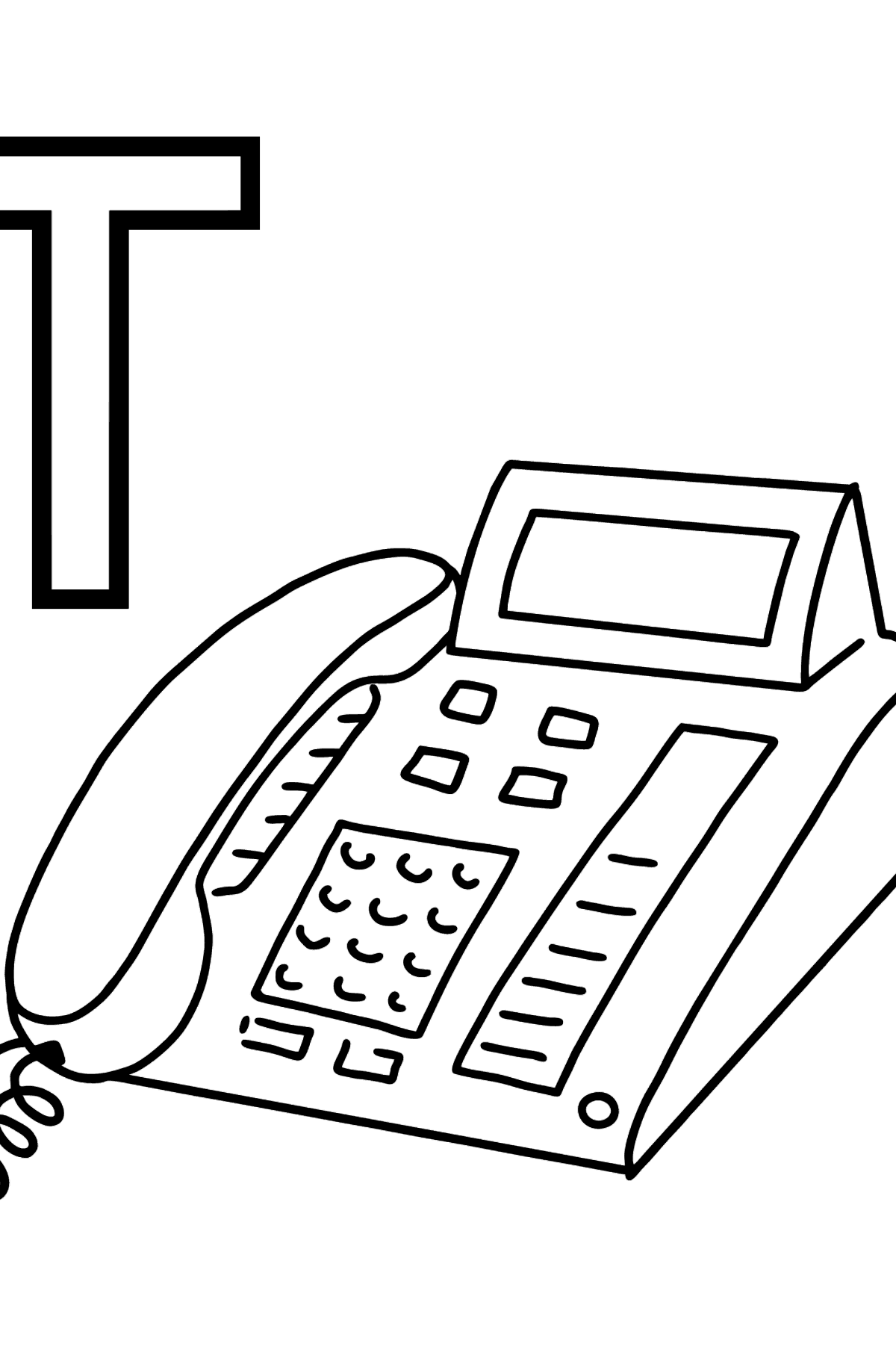 German Letter T coloring pages - TELEFON - Coloring Pages for Kids