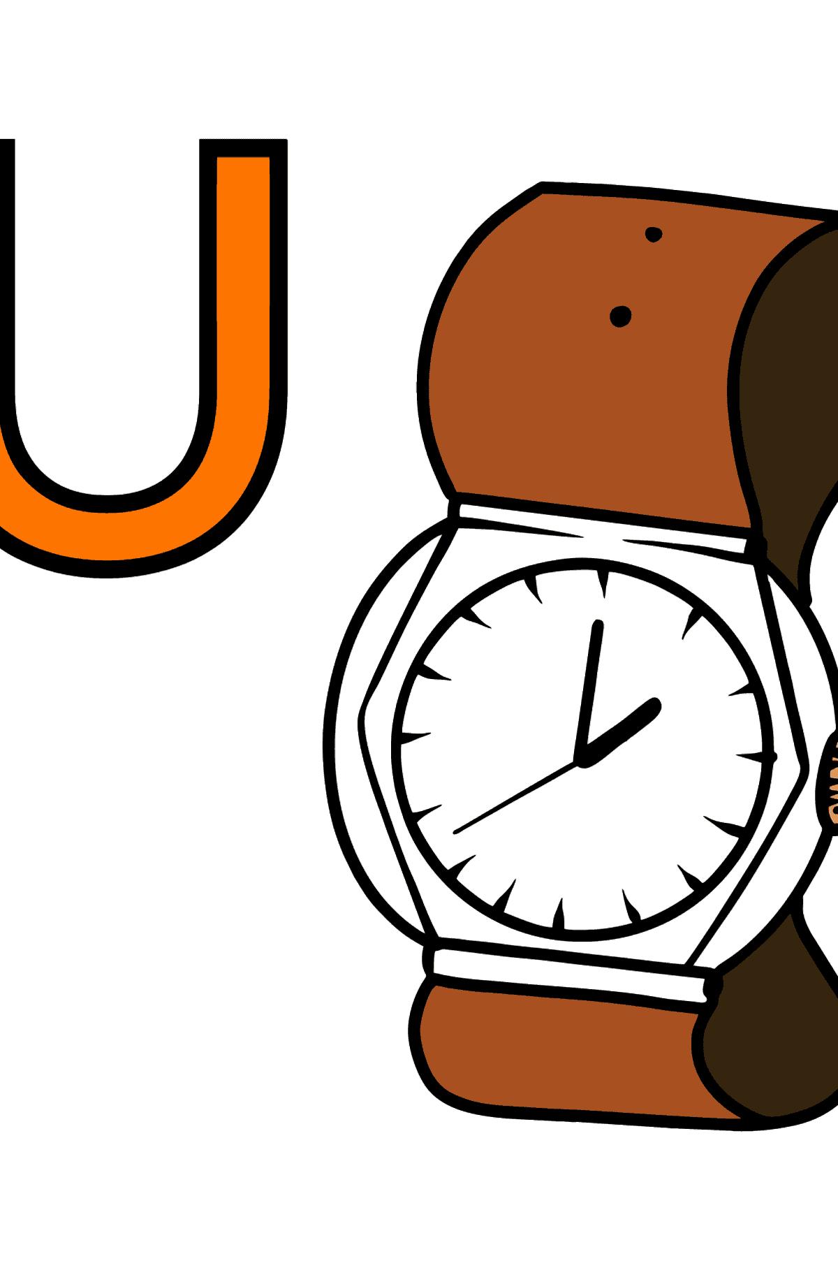 Ausmalbild Deutscher Buchstabe U - UHR - Malvorlagen für Kinder