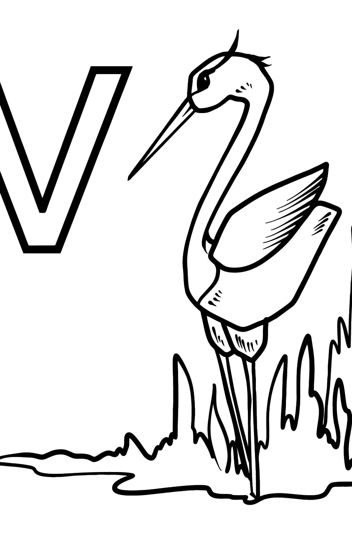 German Letter V coloring pages - VOGEL - Coloring Pages for Kids