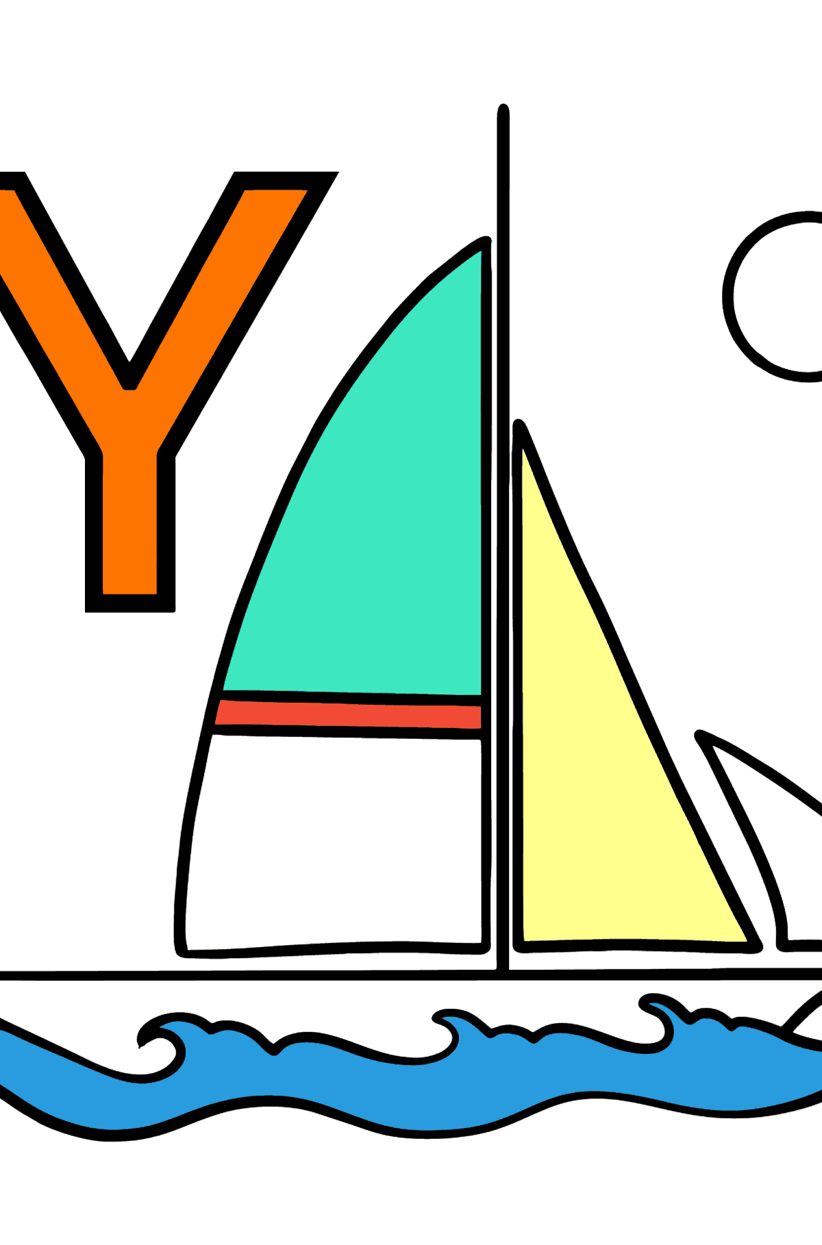German Letter Y coloring pages - YACHT - Coloring Pages for Kids