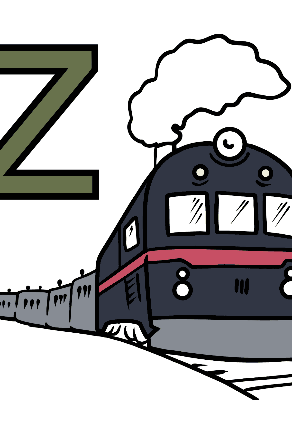 German Letter Z coloring pages - ZUG - Coloring Pages for Kids