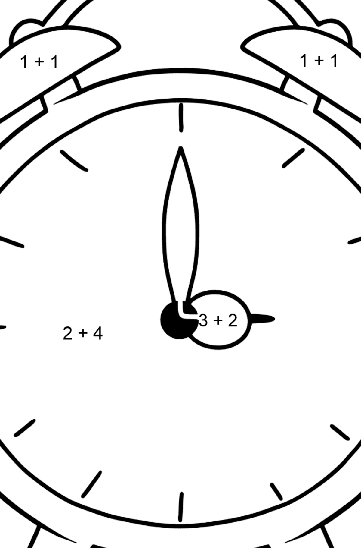 Alarm Clock coloring page - Math Coloring - Addition for Kids