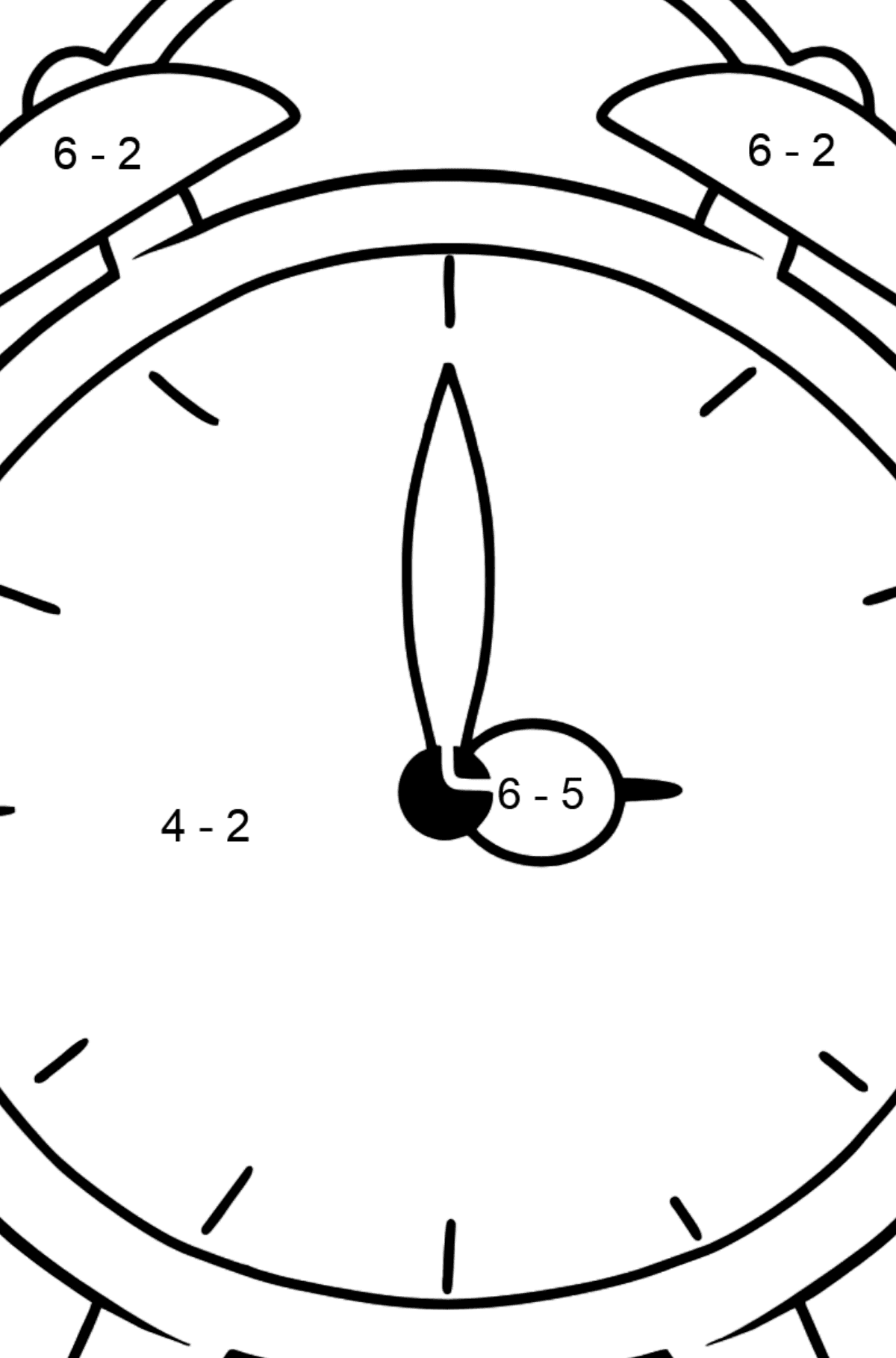 Alarm Clock coloring page - Math Coloring - Subtraction for Kids