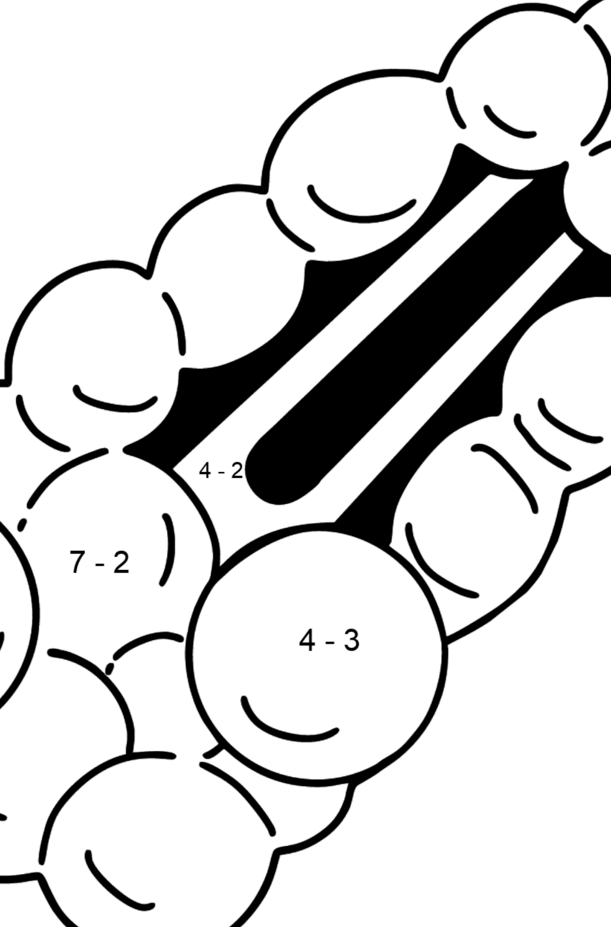 Barrette coloring page - Math Coloring - Subtraction for Kids
