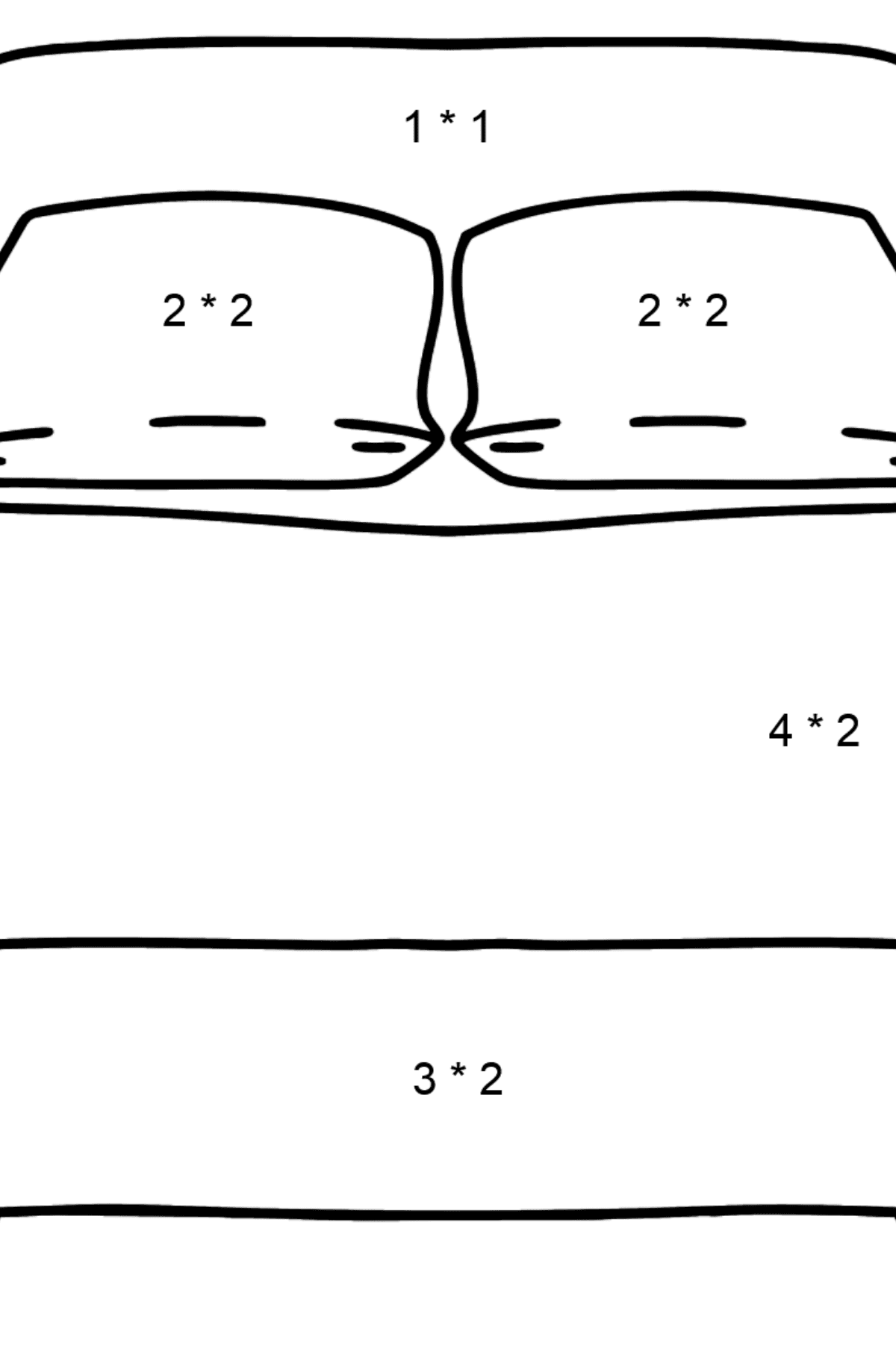 Bed coloring page - Math Coloring - Multiplication for Kids