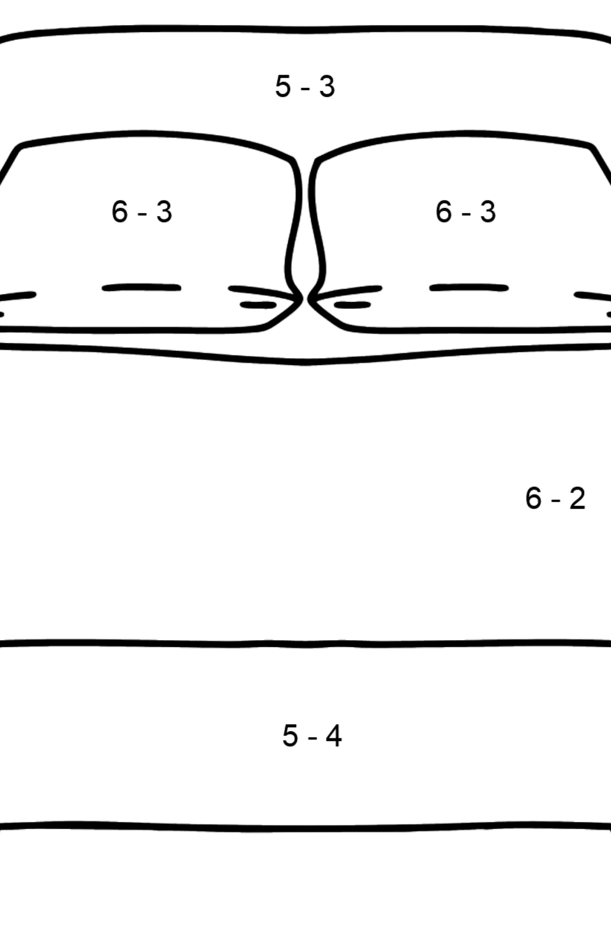 Bed coloring page - Math Coloring - Subtraction for Kids