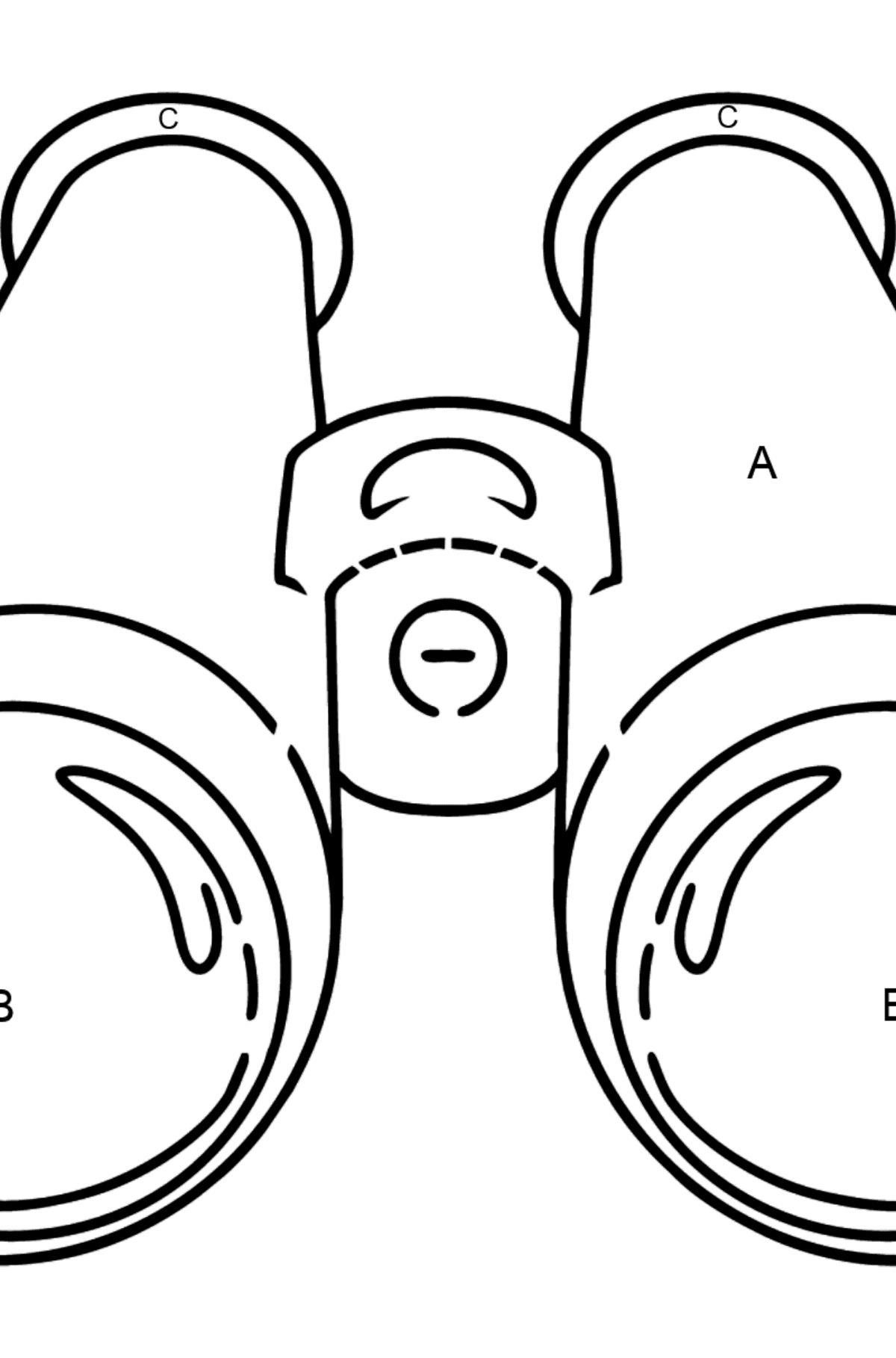 Binoculars coloring page - Coloring by Letters for Kids