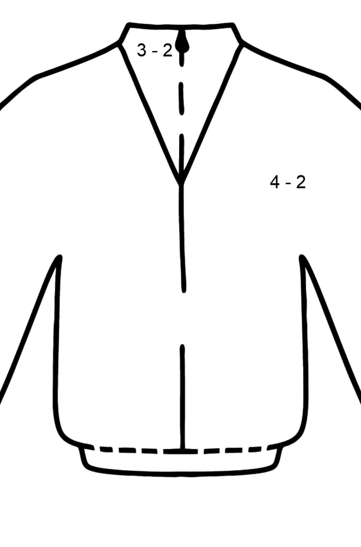 Blue Jacket coloring page - Math Coloring - Subtraction for Kids