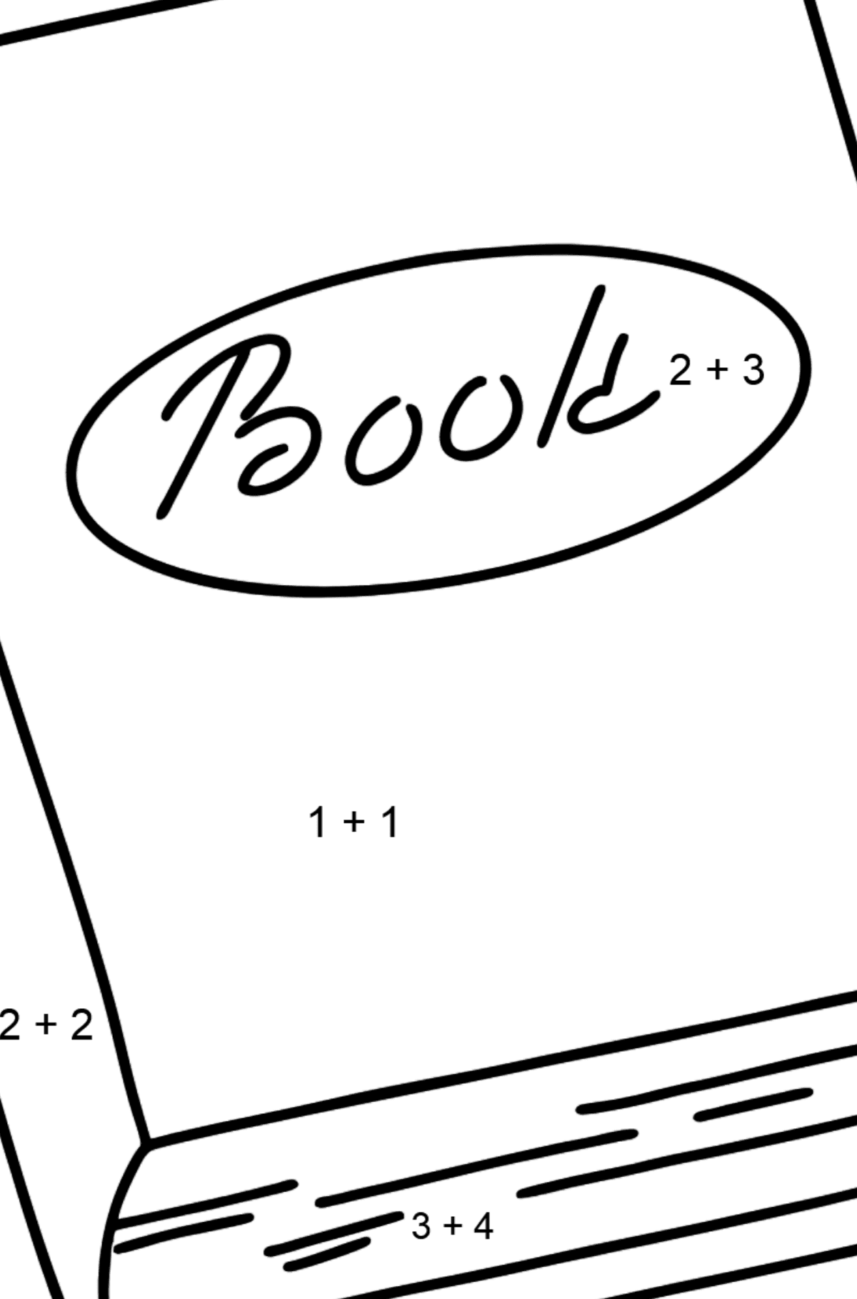 Book coloring page - Math Coloring - Addition for Kids