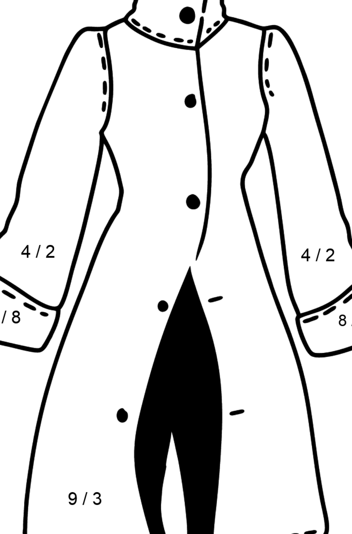 Coat coloring page - Math Coloring - Division for Kids