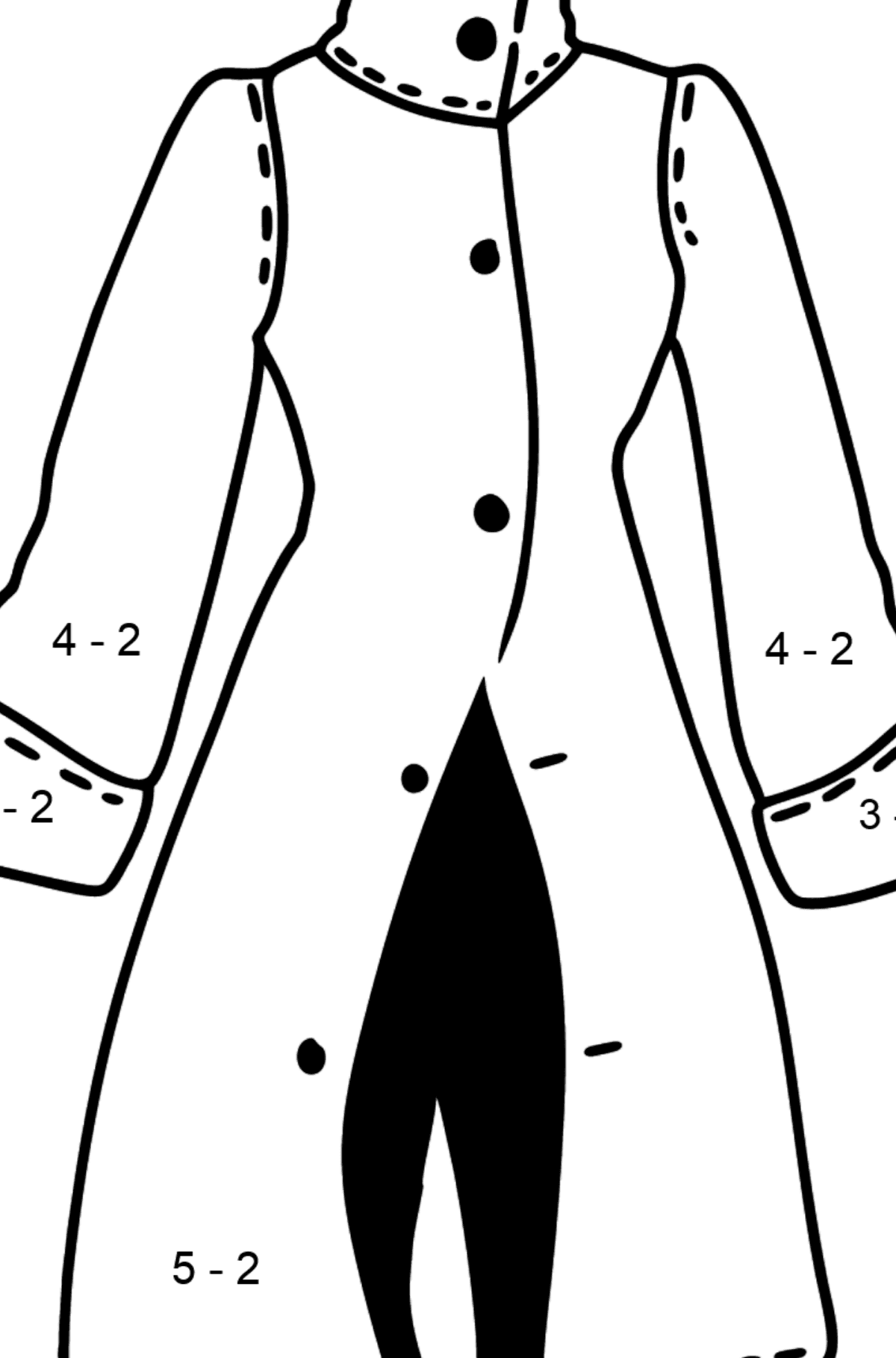 Coat coloring page - Math Coloring - Subtraction for Kids