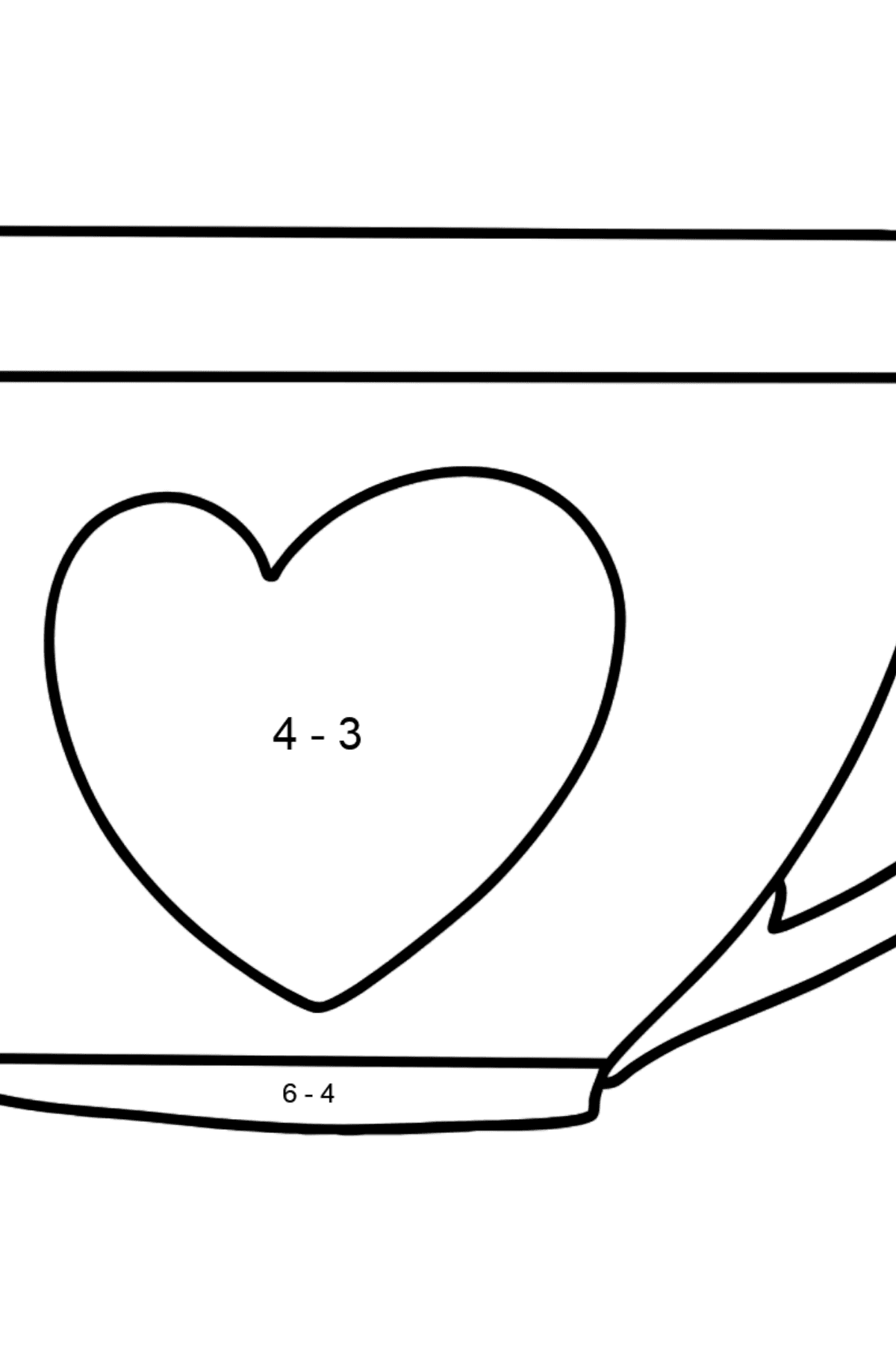 Cup coloring page - Math Coloring - Subtraction for Kids