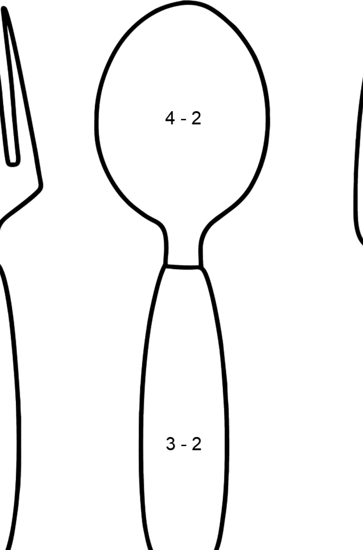 Cutlery coloring page - Math Coloring - Subtraction for Kids