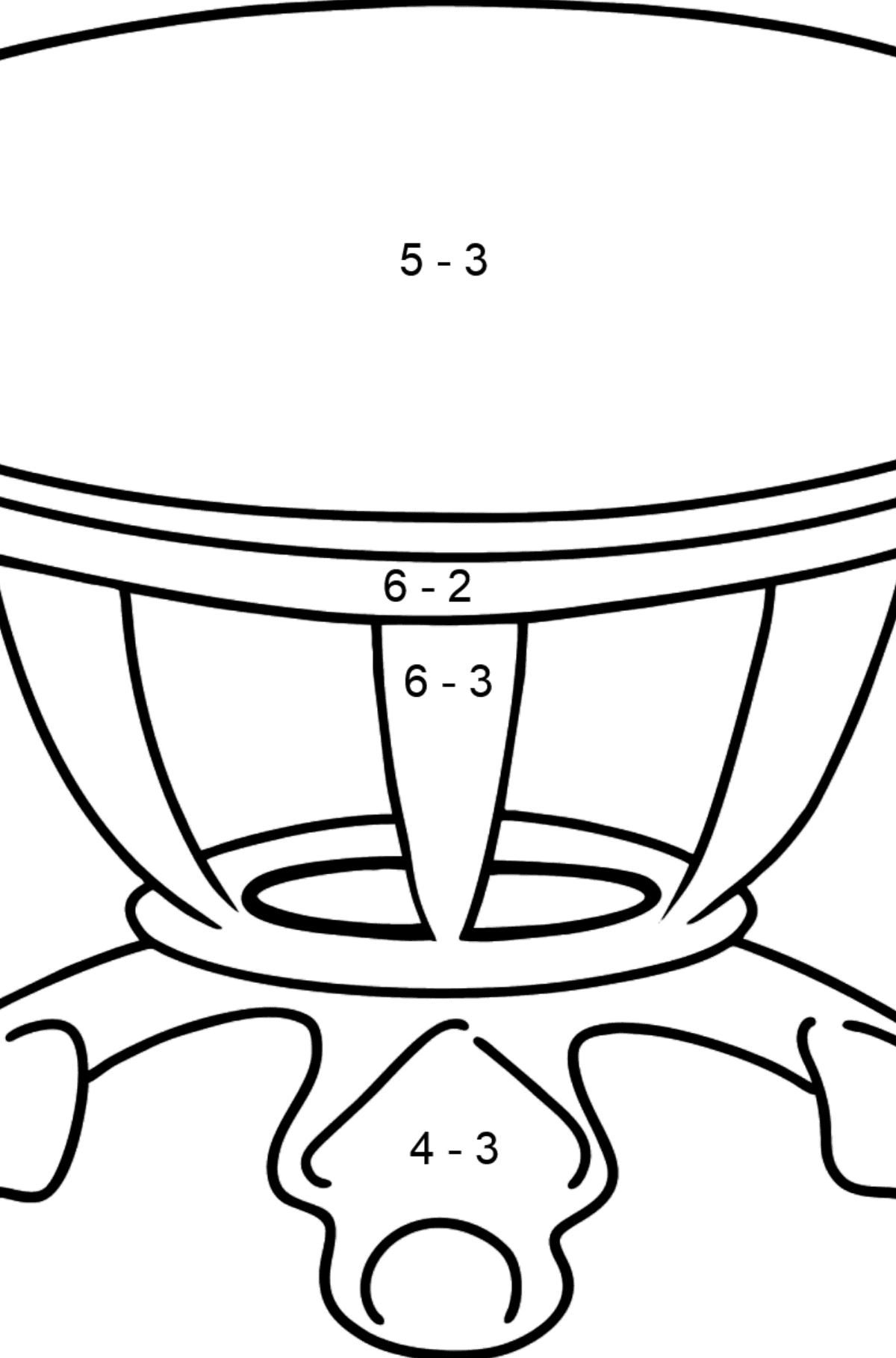 Dining Table coloring page - Math Coloring - Subtraction for Kids