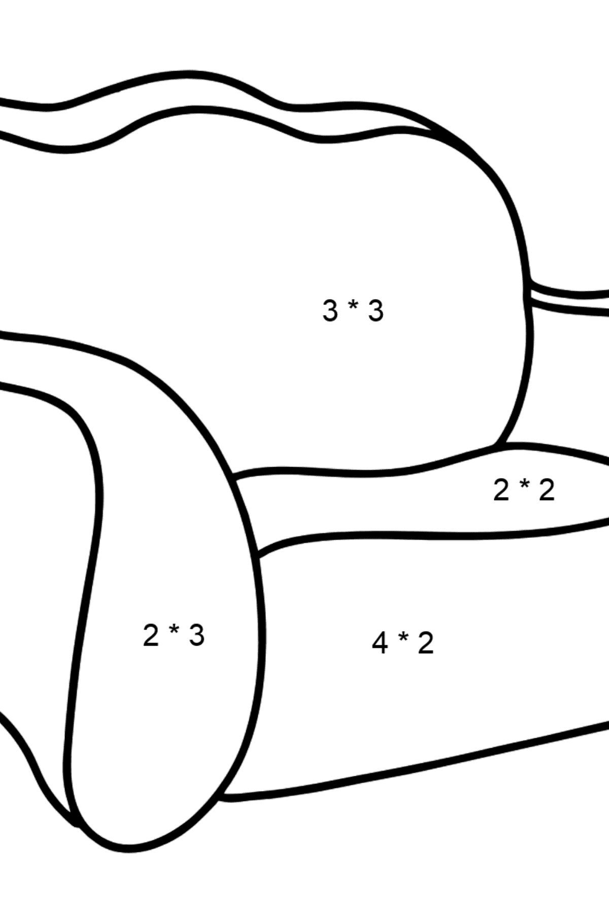 Pull Out Sofa coloring page - Math Coloring - Multiplication for Kids