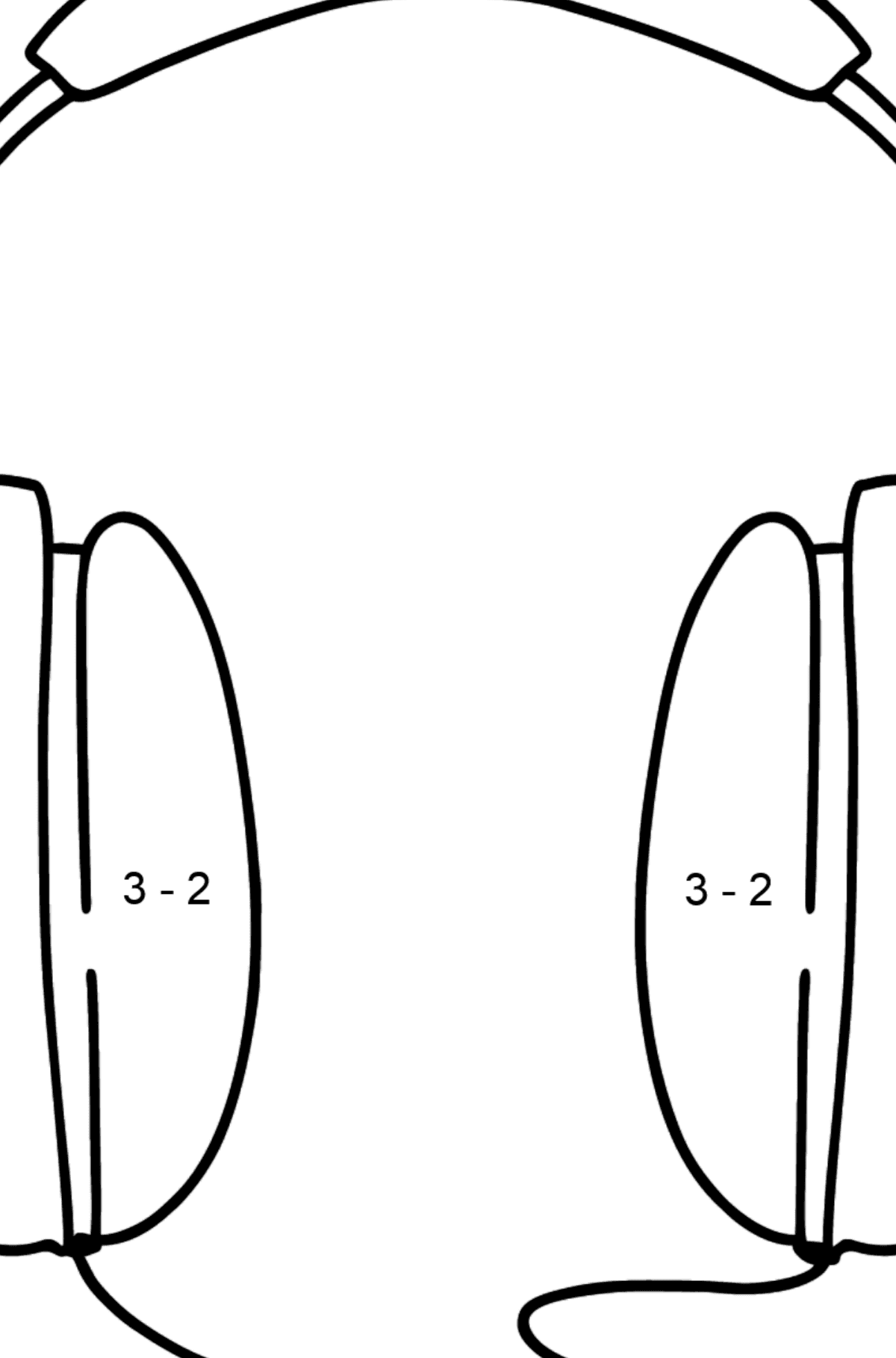 Headphones coloring page - Math Coloring - Subtraction for Kids