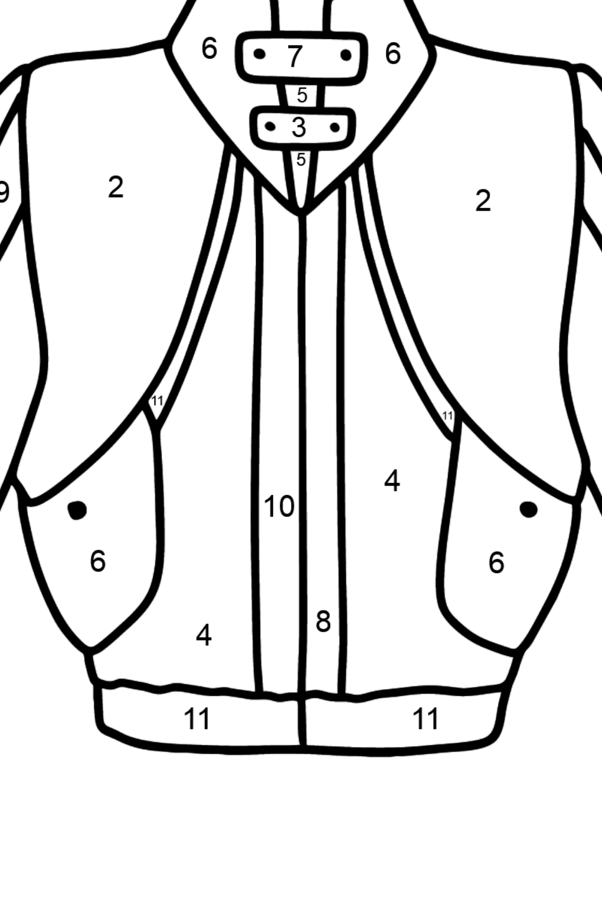 Jacket coloring page - Coloring by Numbers for Kids