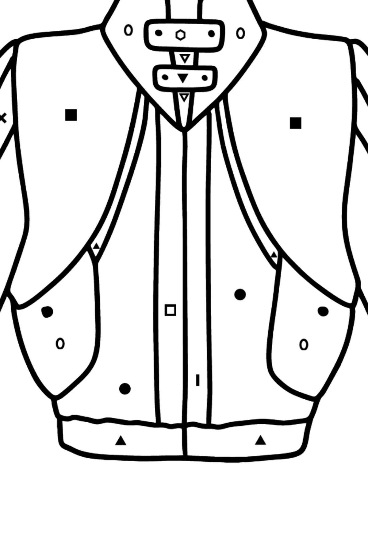 Jacket coloring page - Coloring by Symbols and Geometric Shapes for Kids