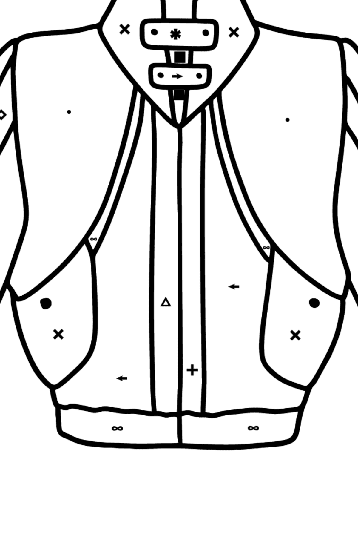 Jacket coloring page - Coloring by Symbols for Kids