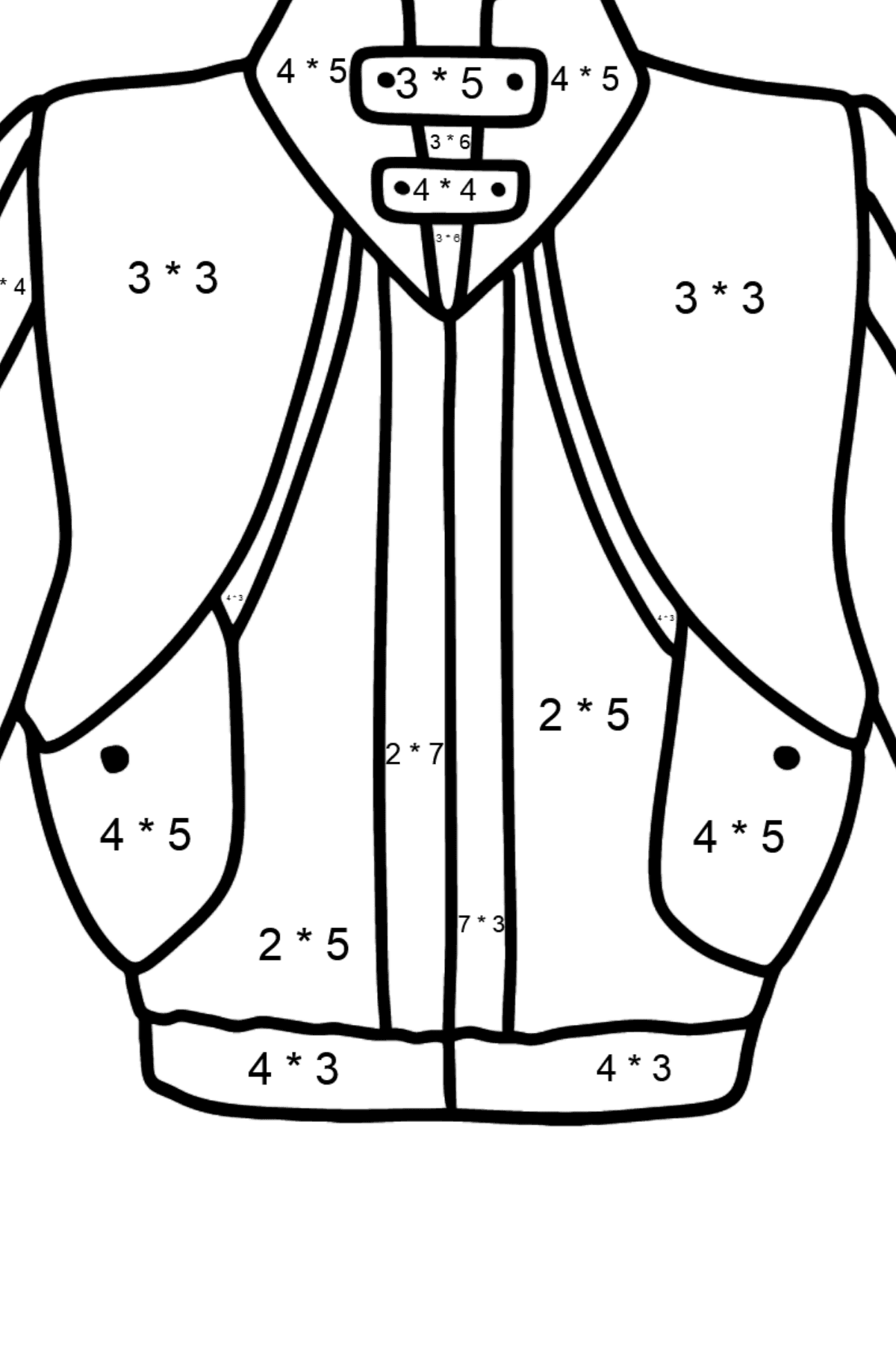 Jacket coloring page - Math Coloring - Multiplication for Kids