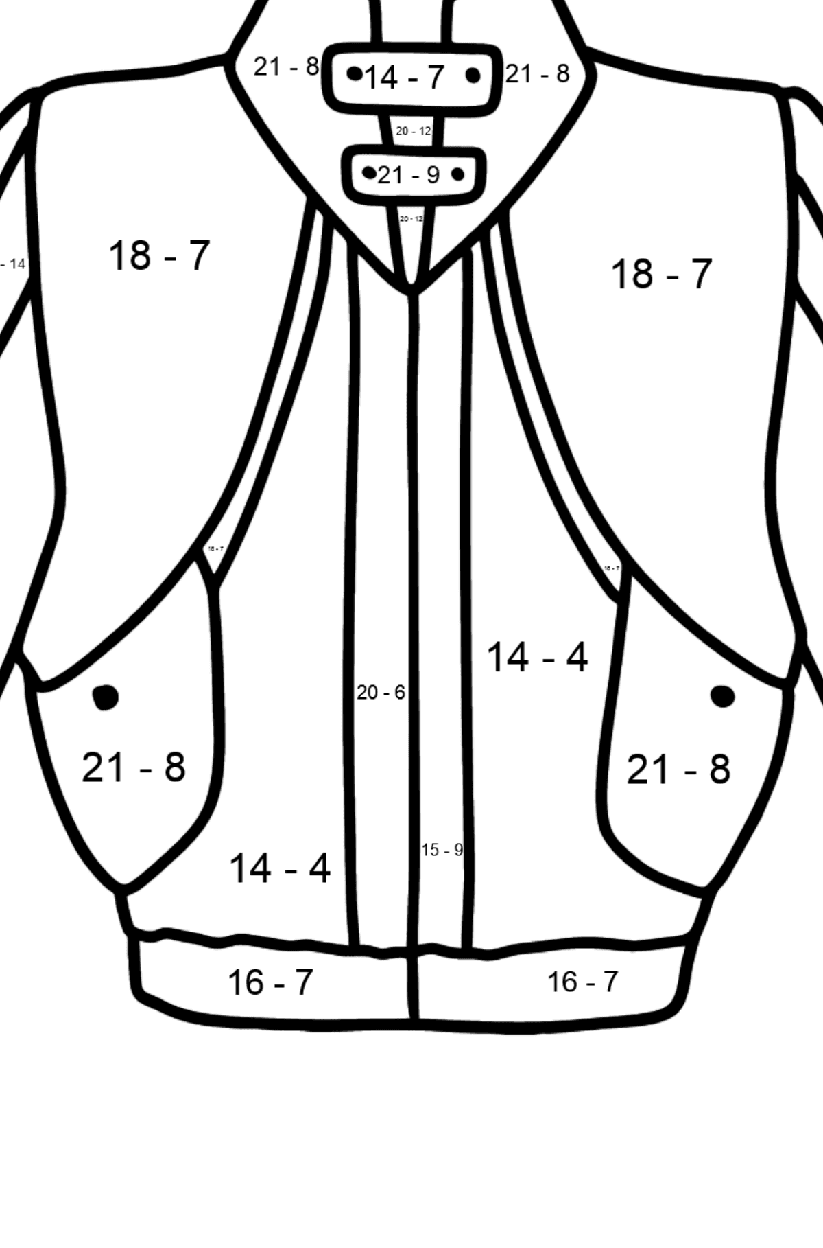 Jacket coloring page - Math Coloring - Subtraction for Kids