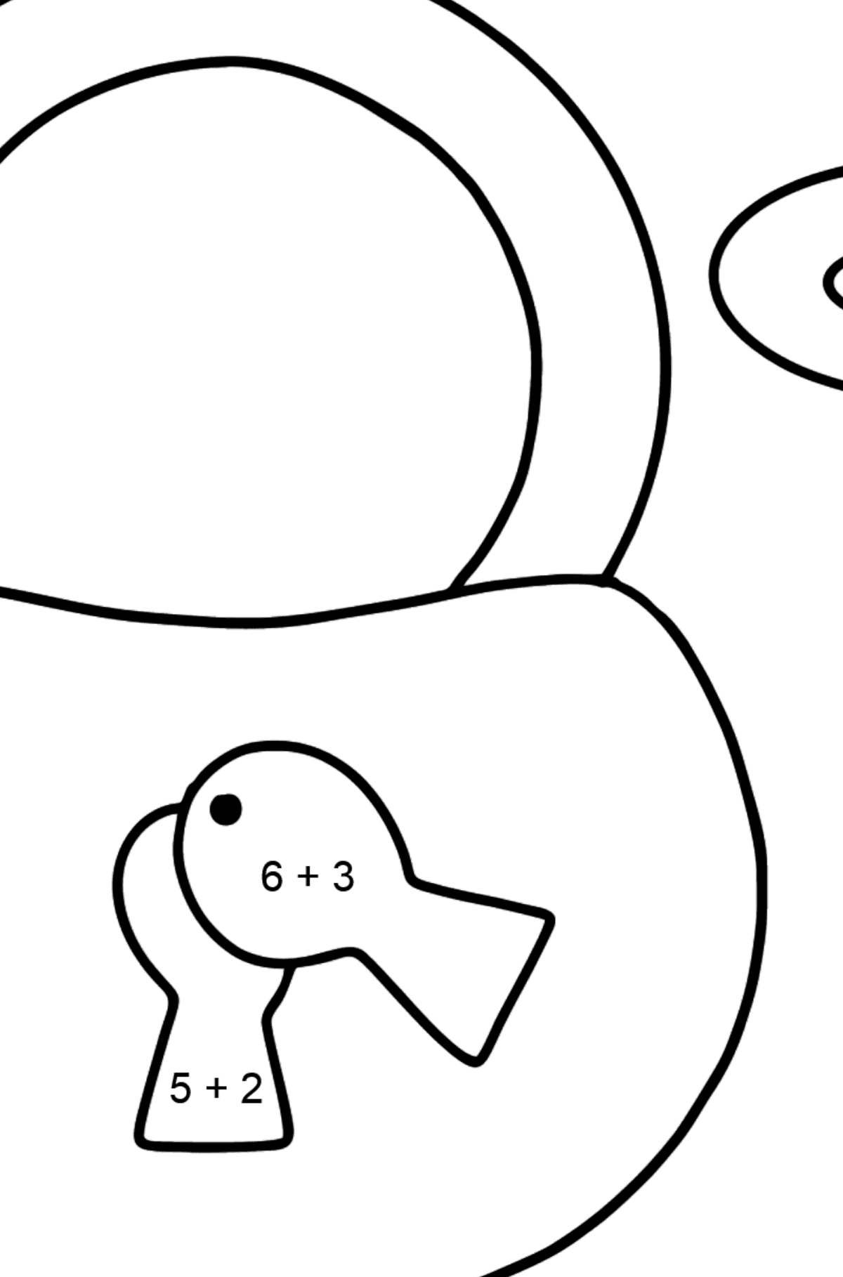 Lock and Key coloring page - Math Coloring - Addition for Kids