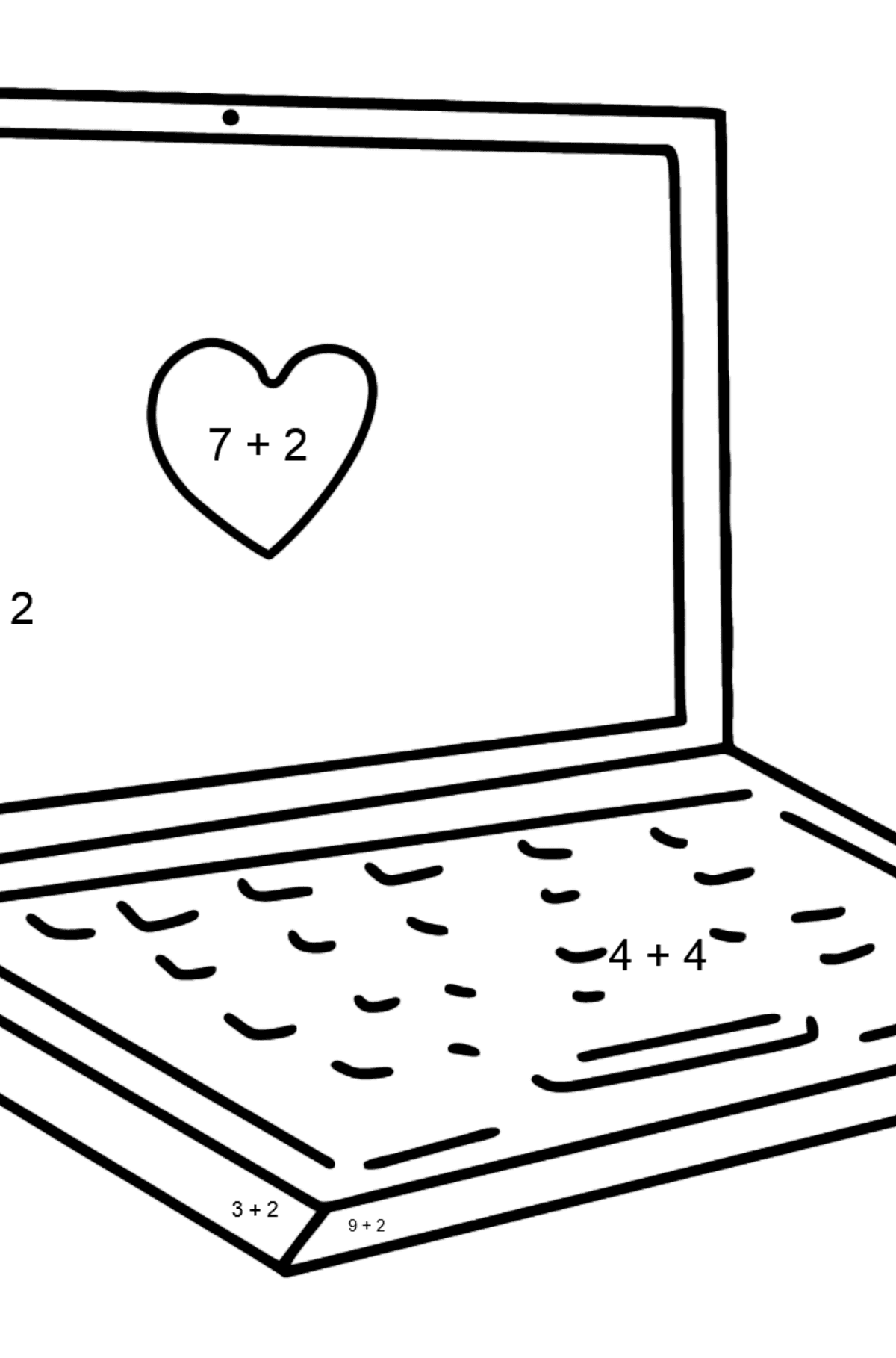 Notebook coloring page - Math Coloring - Addition for Kids