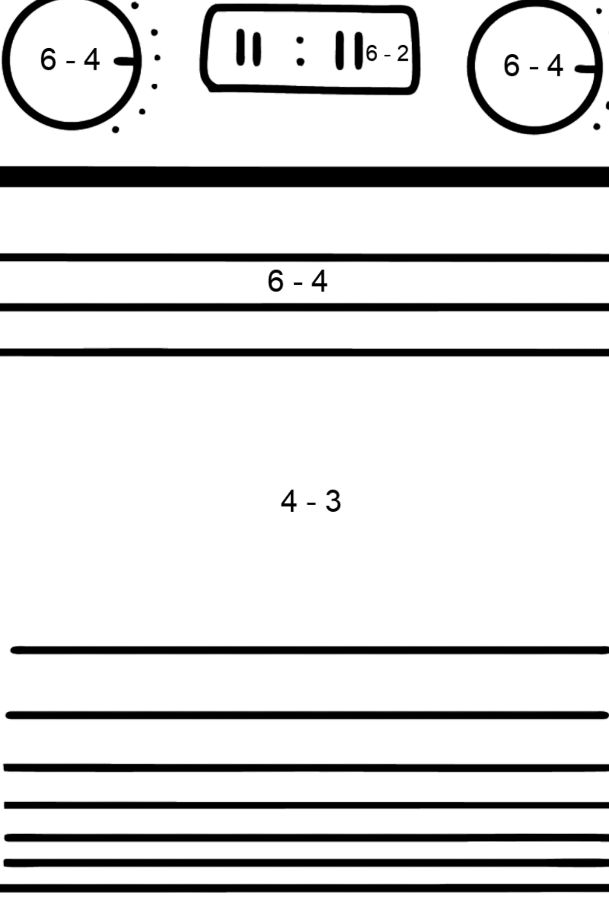 Oven coloring page - Math Coloring - Subtraction for Kids