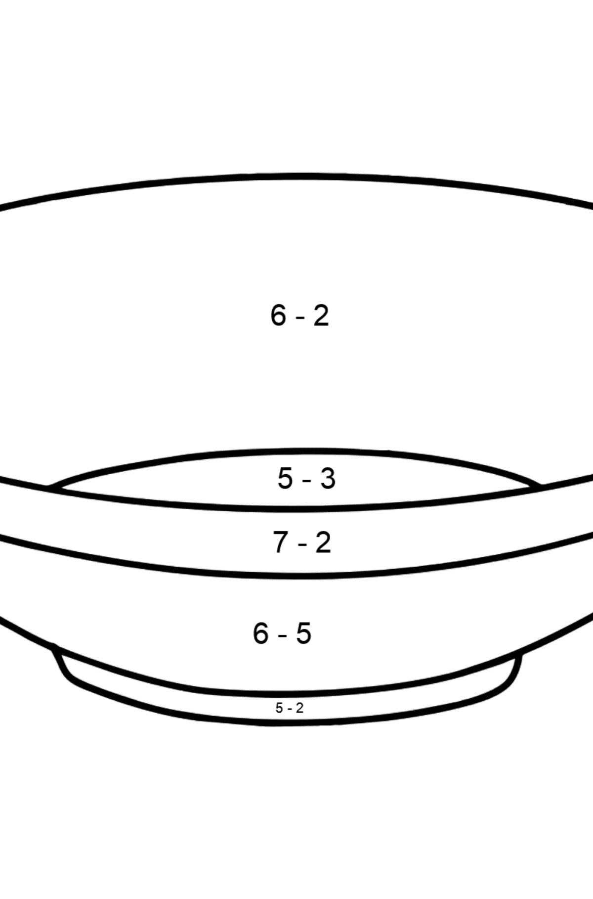 Plate coloring page - Math Coloring - Subtraction for Kids