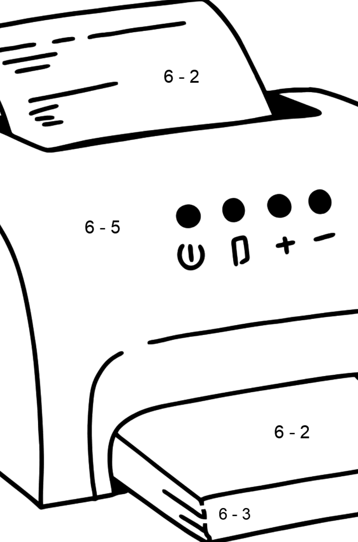 Printer coloring page - Math Coloring - Subtraction for Kids