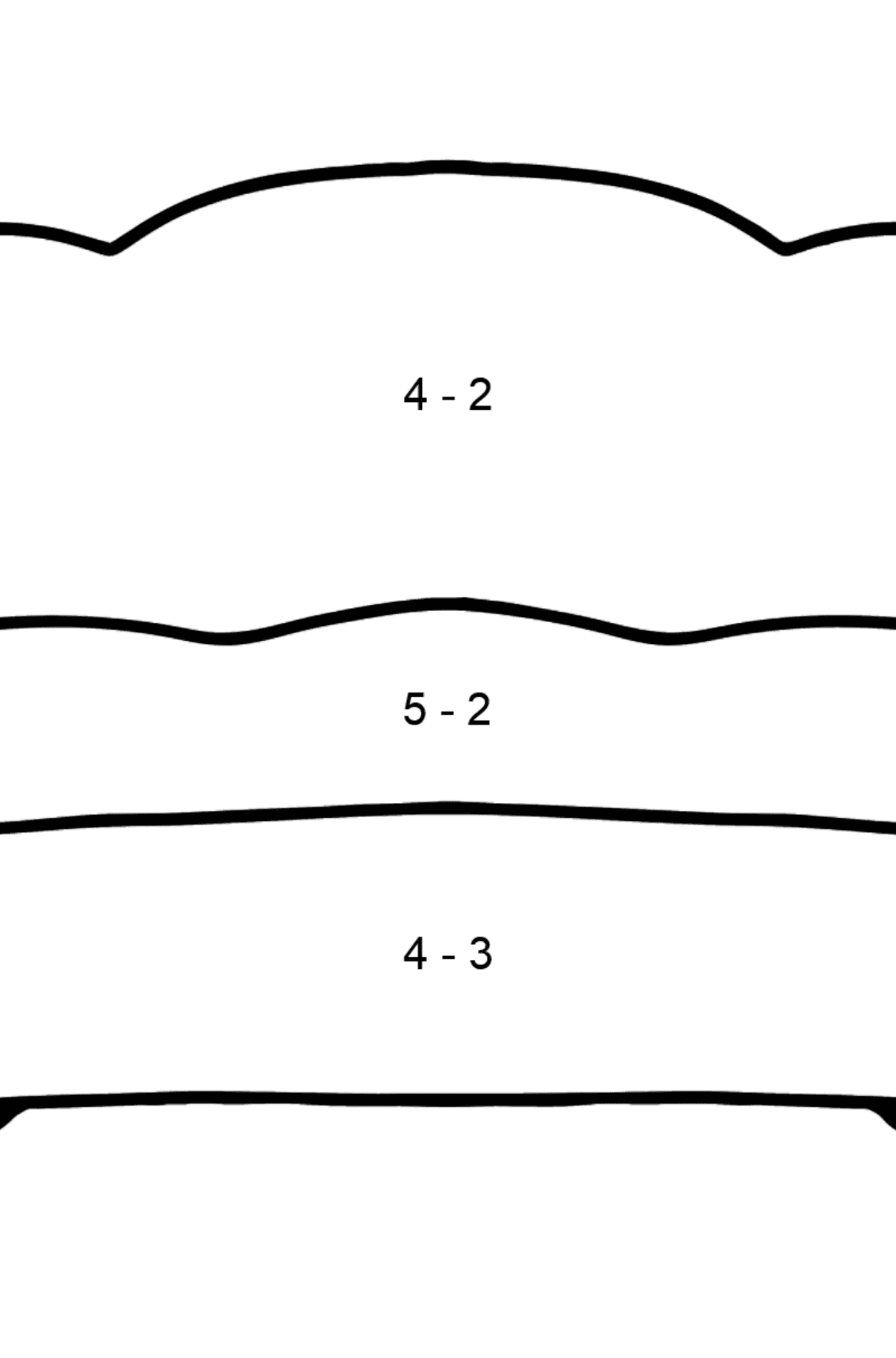 Red Sofa coloring page - Math Coloring - Subtraction for Kids