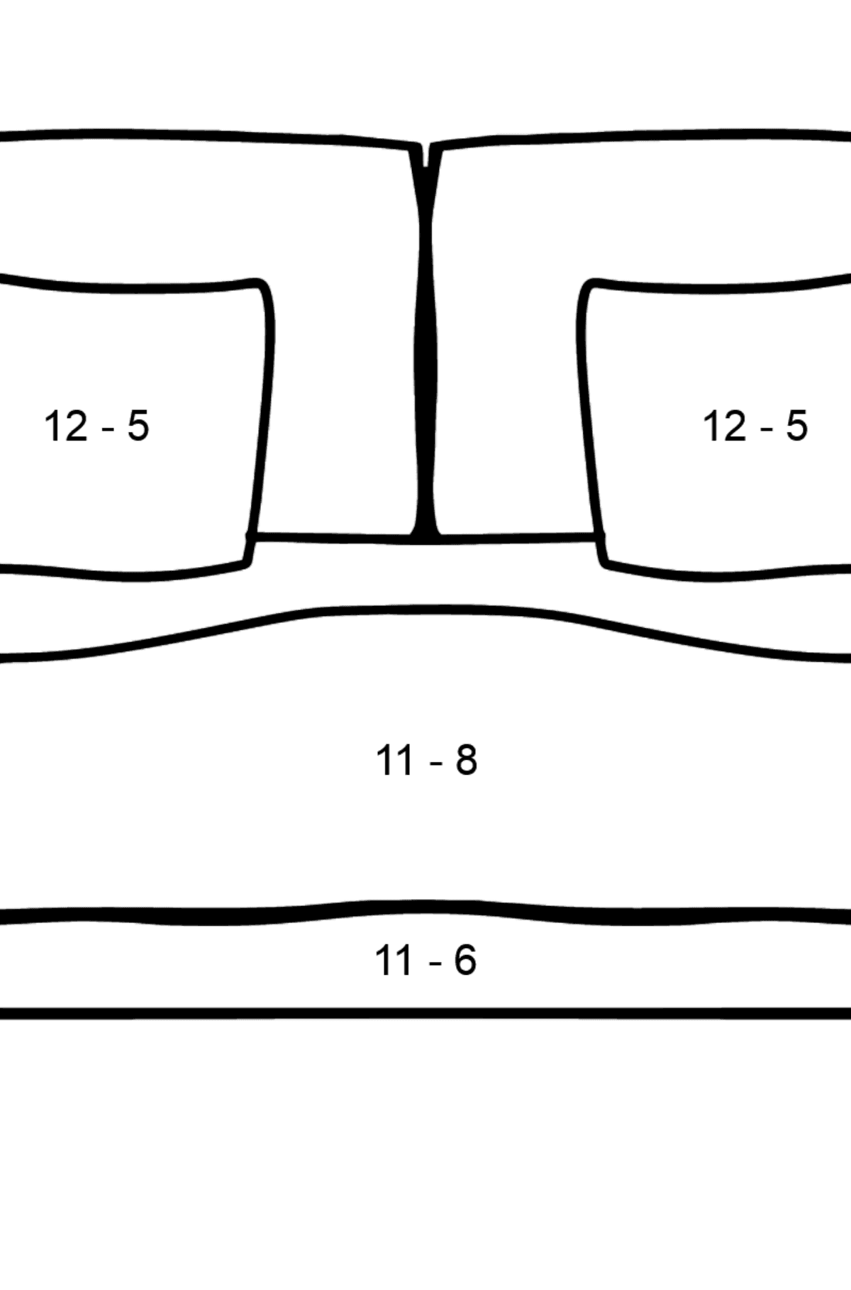 Sofa coloring page - Math Coloring - Subtraction for Kids