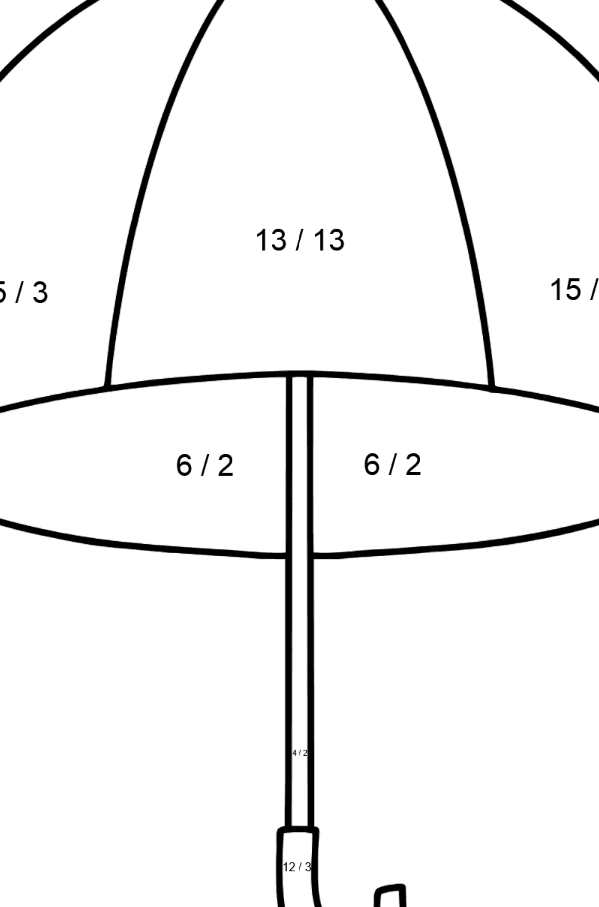 Umbrella coloring page - Math Coloring - Division for Kids