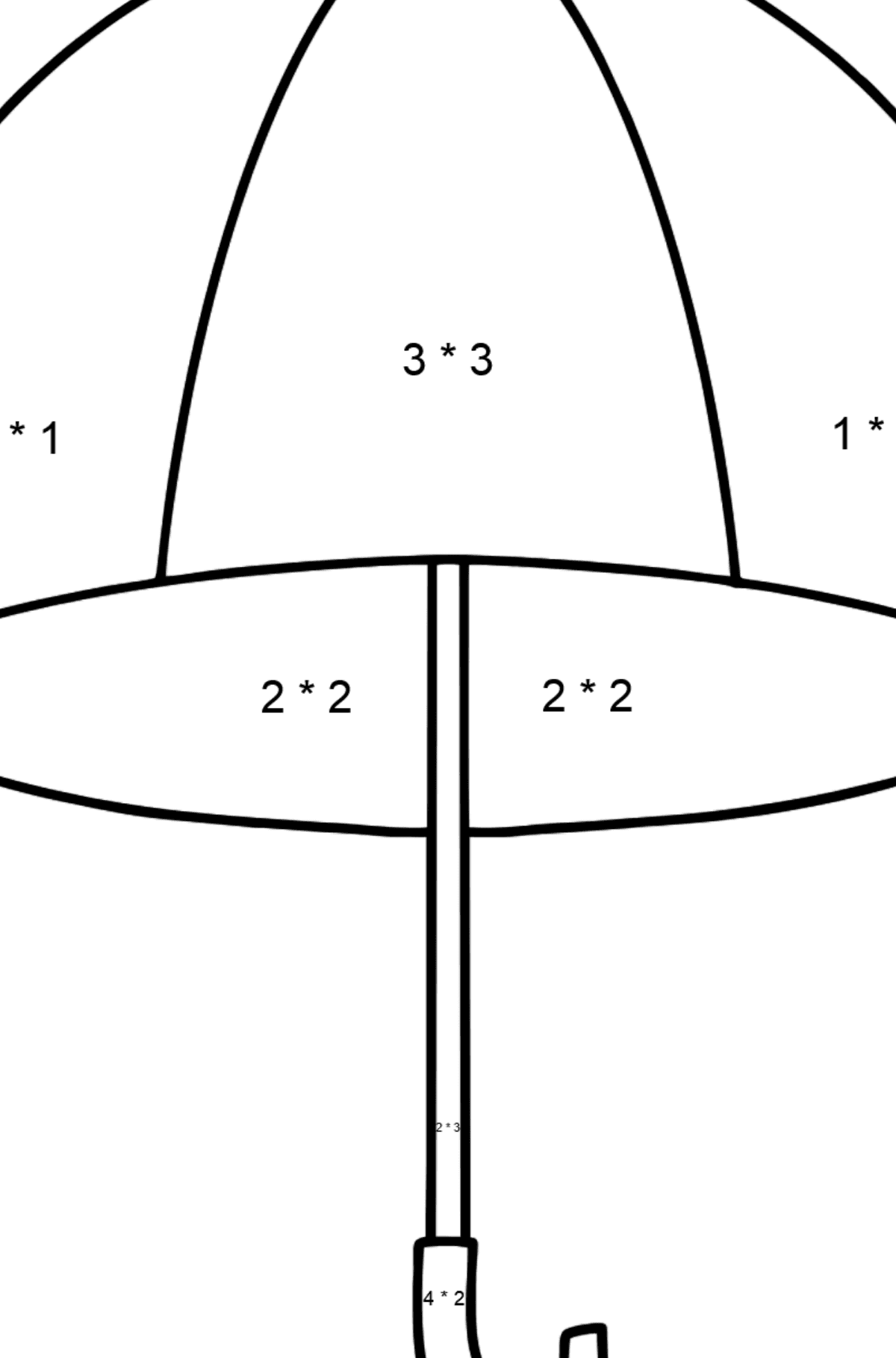 Umbrella coloring page - Math Coloring - Multiplication for Kids
