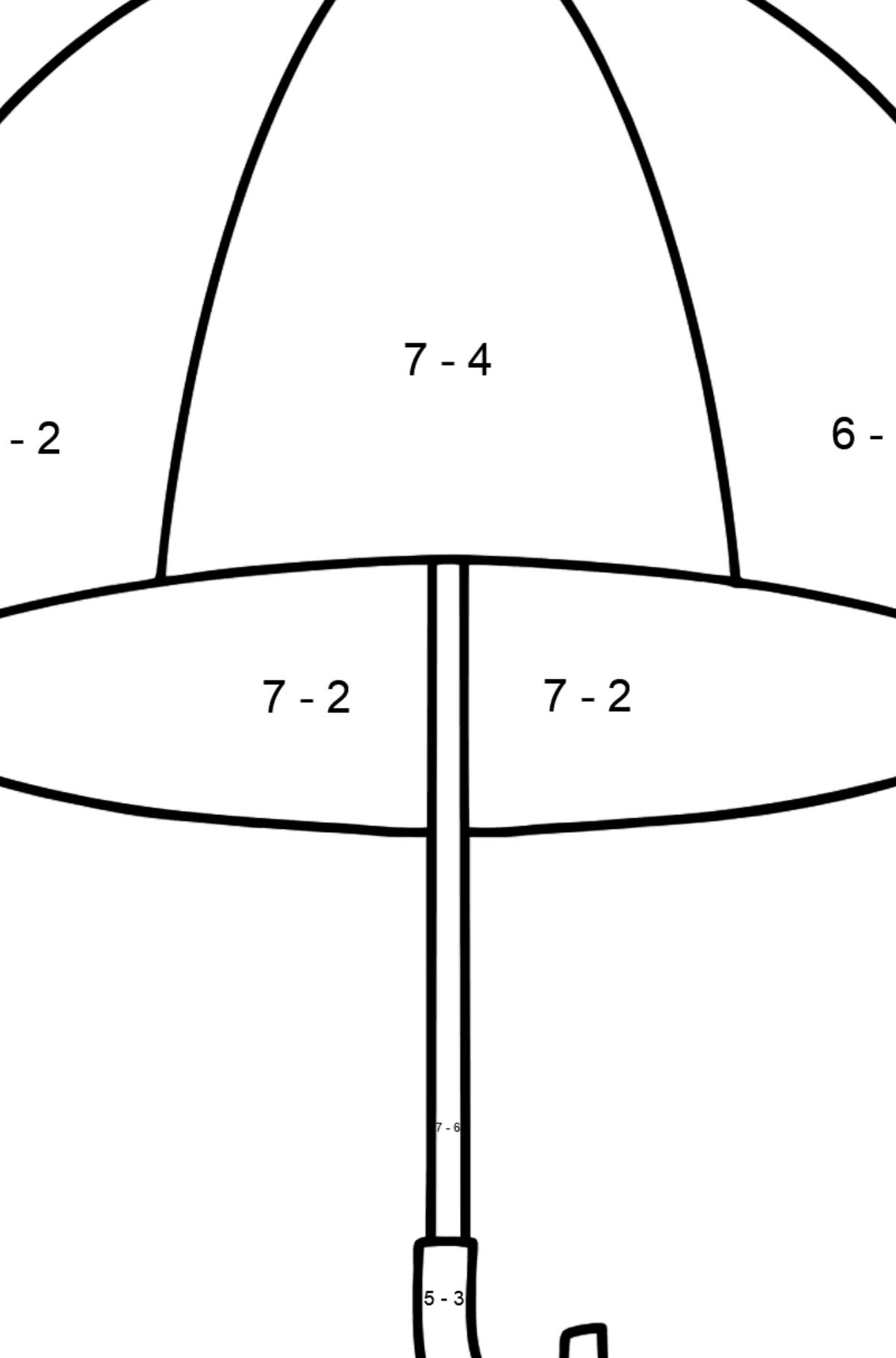 Umbrella coloring page - Math Coloring - Subtraction for Kids