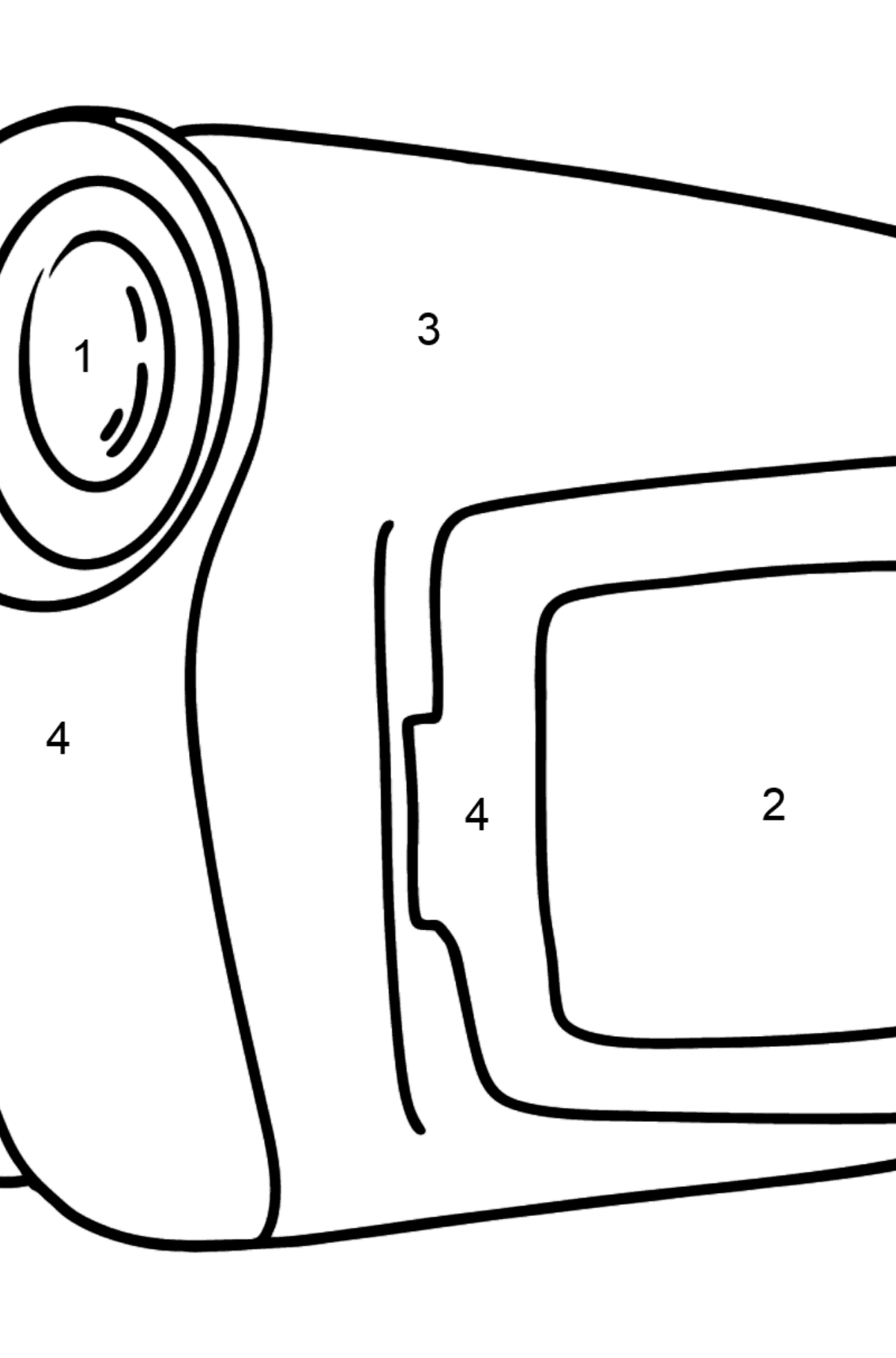 Video camera coloring page - Coloring by Numbers for Kids