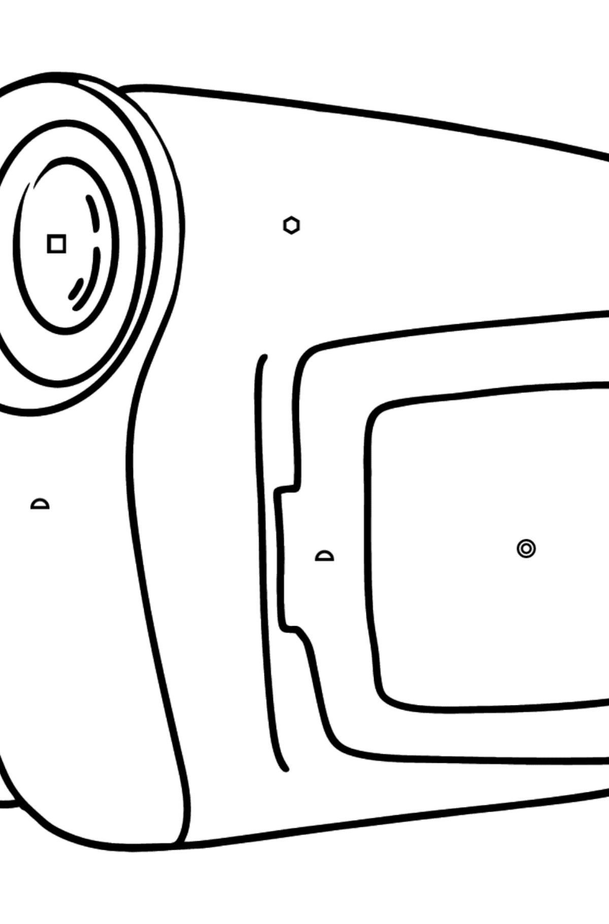 Video camera coloring page - Coloring by Symbols and Geometric Shapes for Kids
