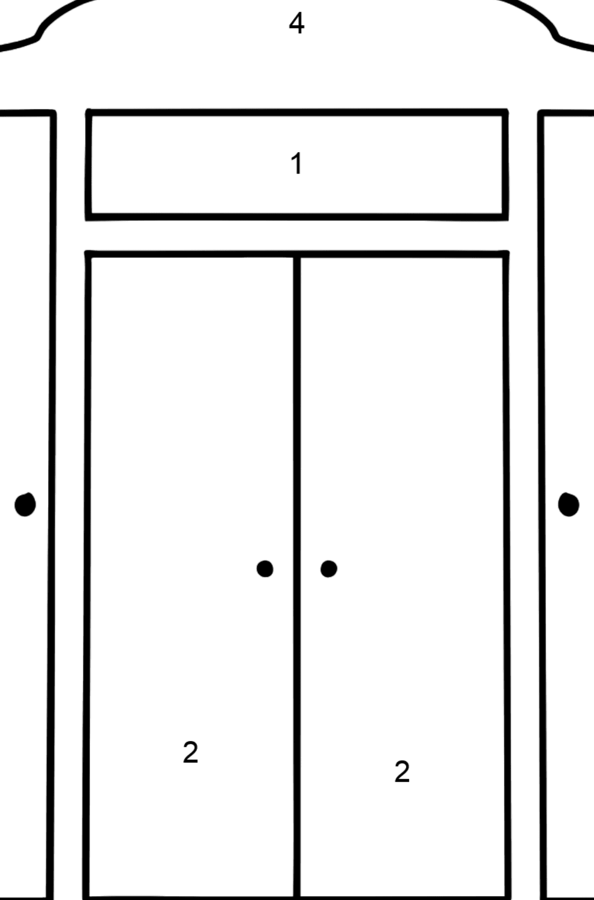 Wardrobe coloring page - Coloring by Numbers for Kids